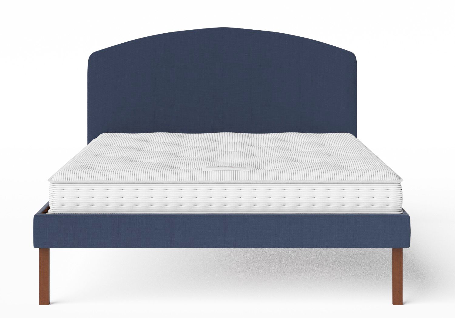 Okawa Upholstered Bed in Navy fabric shown with Juno 1 mattress