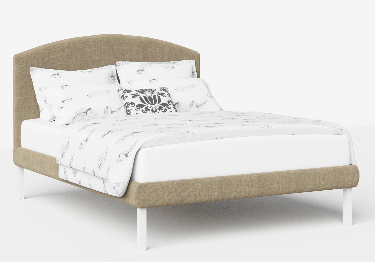 Okawa Upholstered Bed in Straw fabric shown with Juno 1 mattress