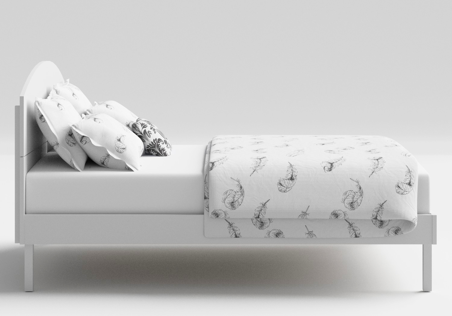 Okawa Wood Bed in White