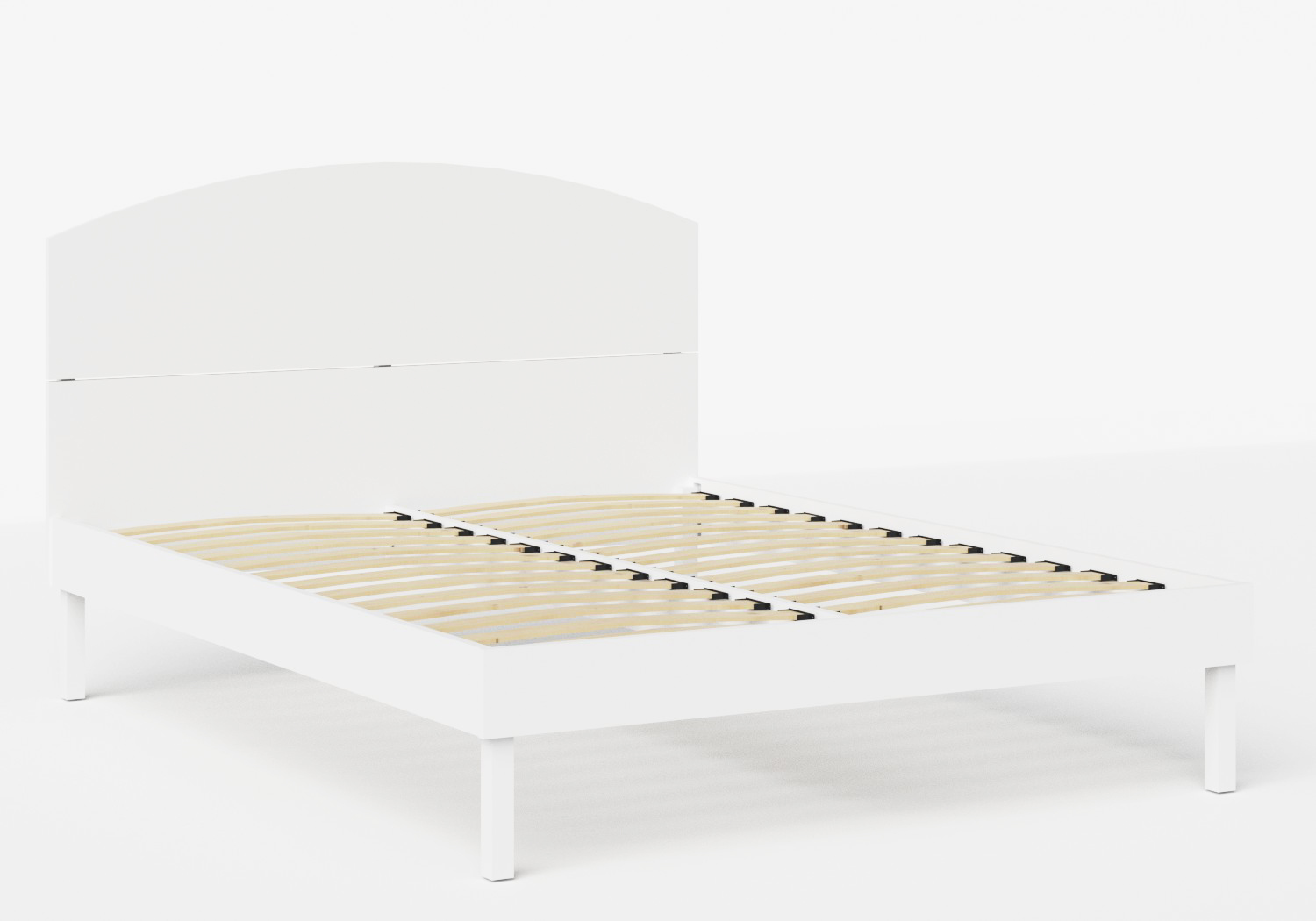 Okawa Wood Bed in White shown with slatted frame