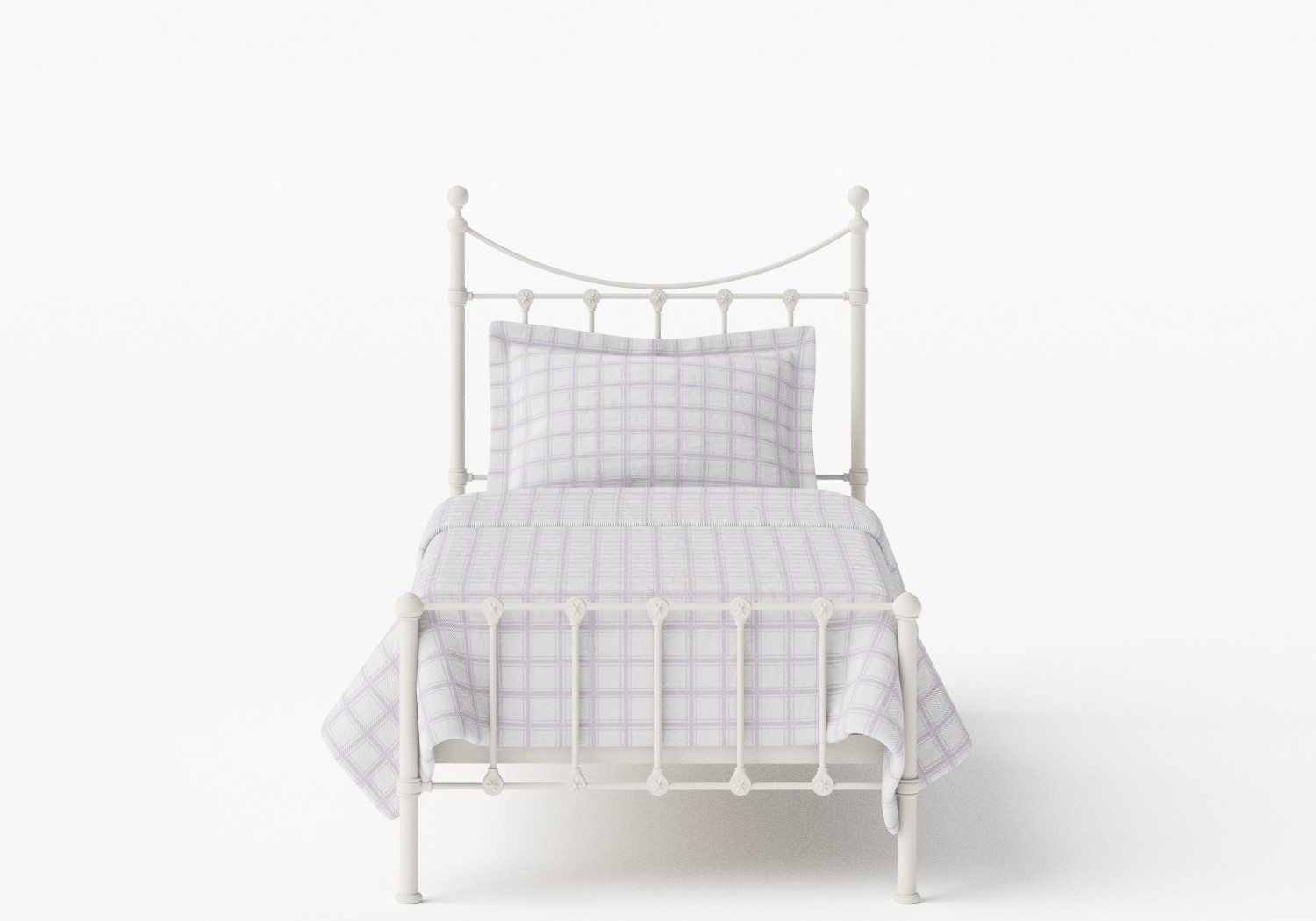 Olivia Single Iron/Metal Bed in Glossy Ivory