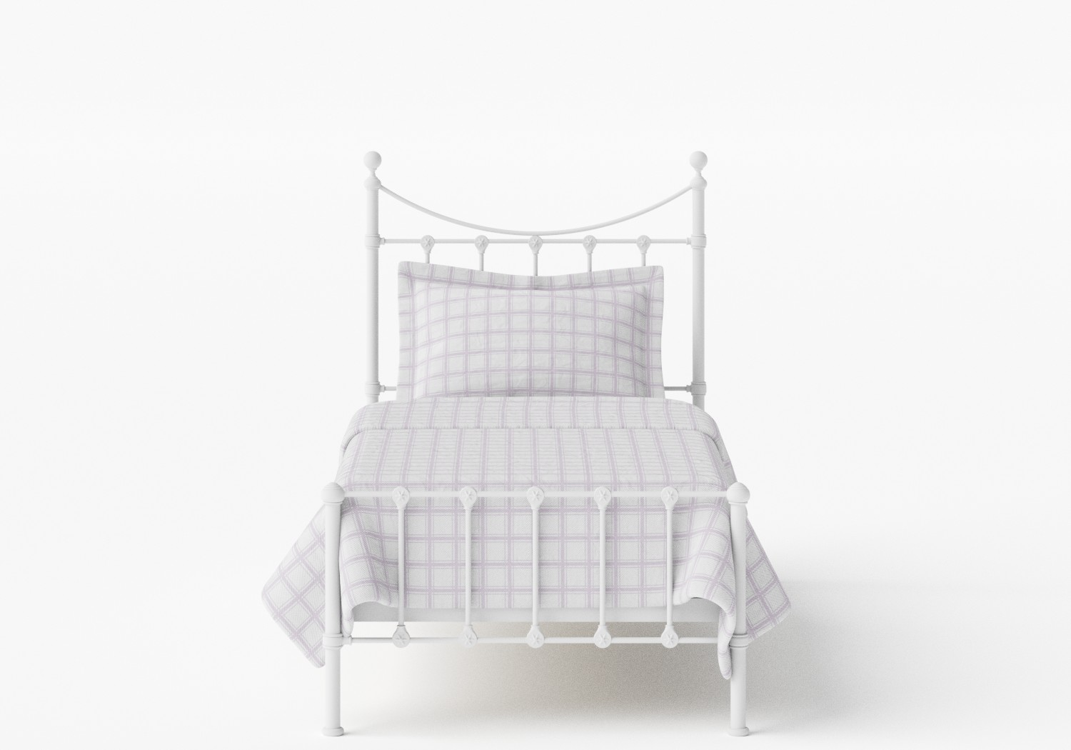 Olivia Single Iron/Metal Bed in Satin White