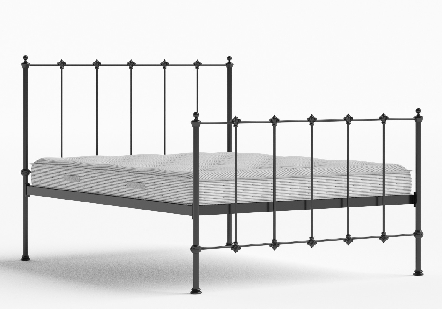 Paris Iron/Metal Bed in Satin Black shown with Juno 1 mattress