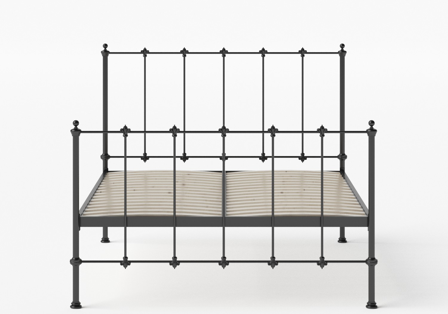Paris Iron/Metal Bed in Satin Black shown with slatted frame