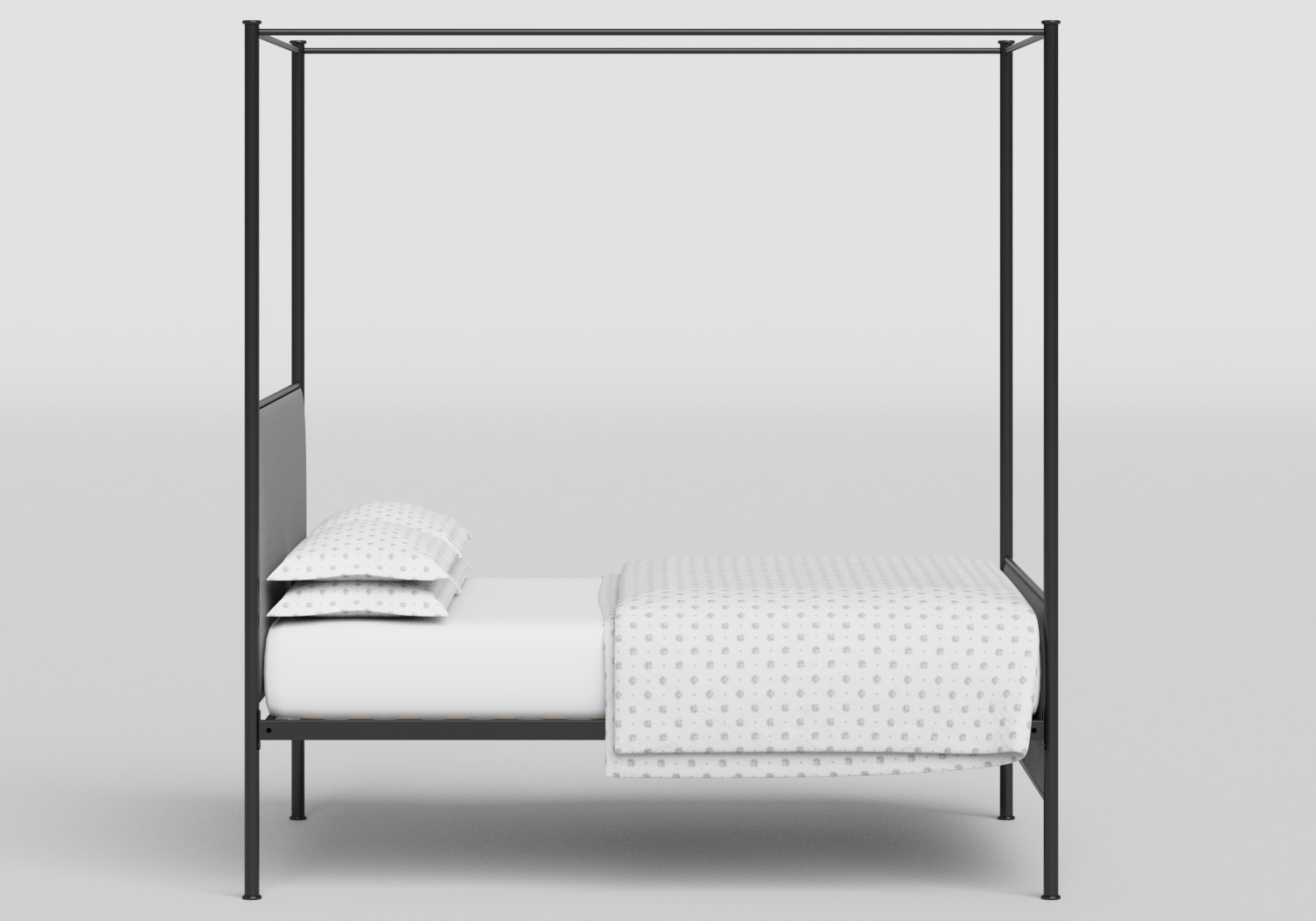 Reims upholstered four poster iron bed in Black