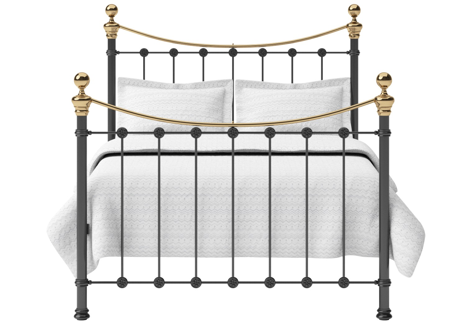 Selkirk Iron/Metal Bed in Satin Black with Brass details