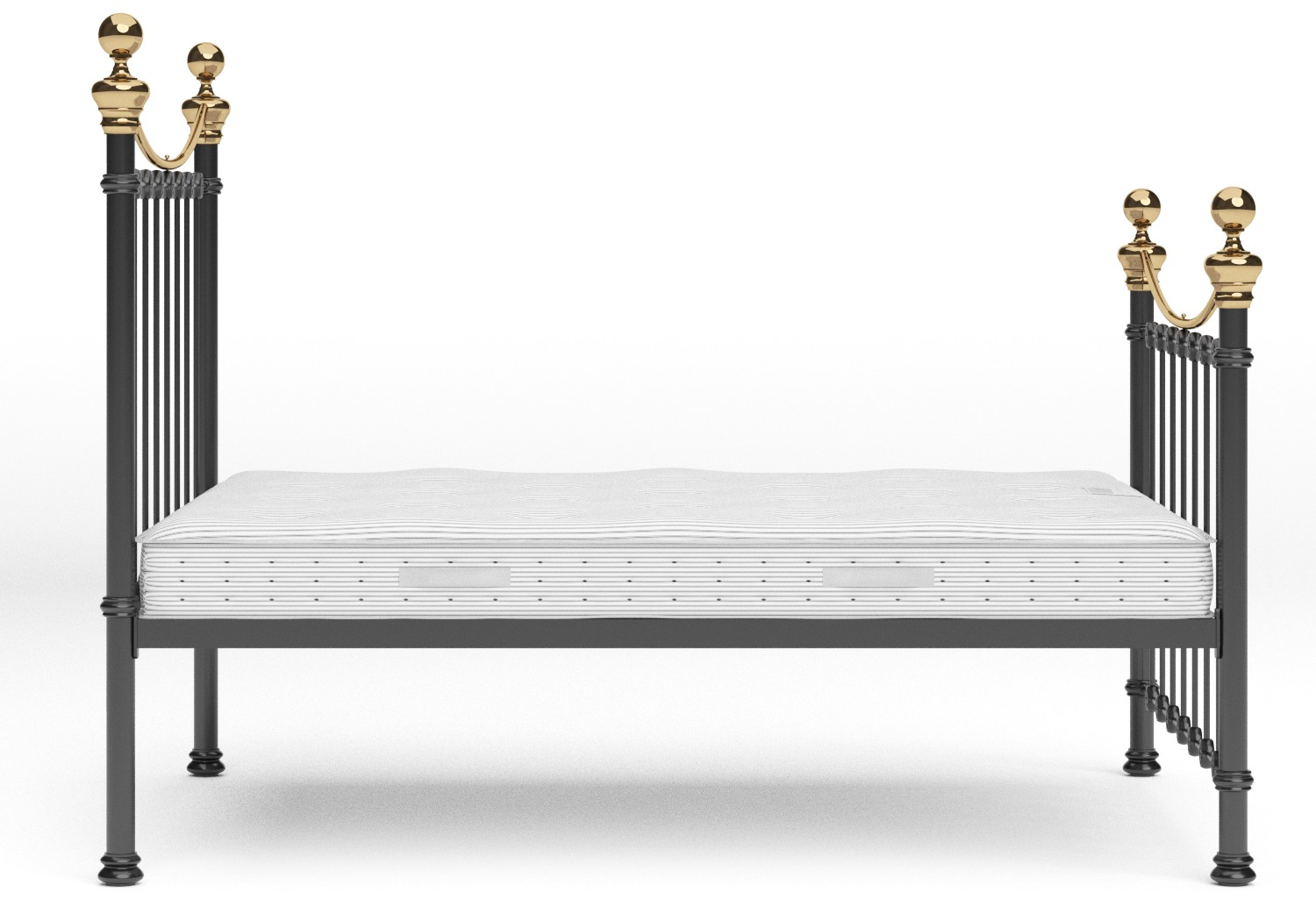 Selkirk Iron/Metal Bed in Satin Black with Brass details shown with Juno 1 mattress