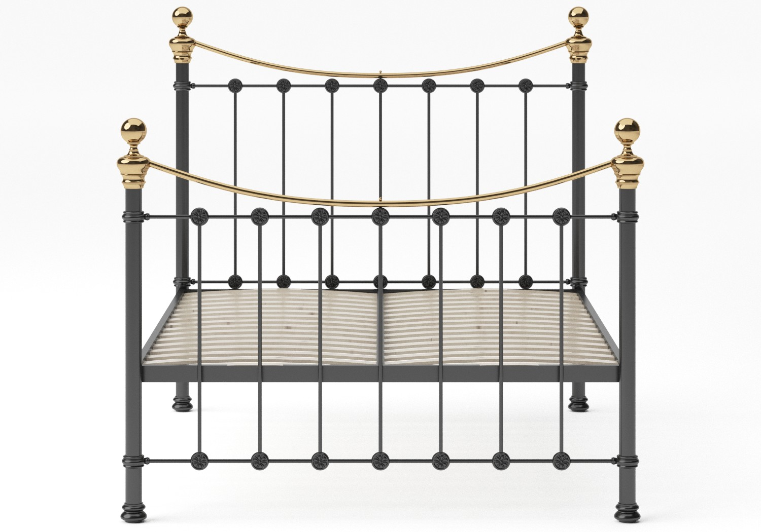Selkirk Iron/Metal Bed in Satin Black with Brass details shown with slatted frame