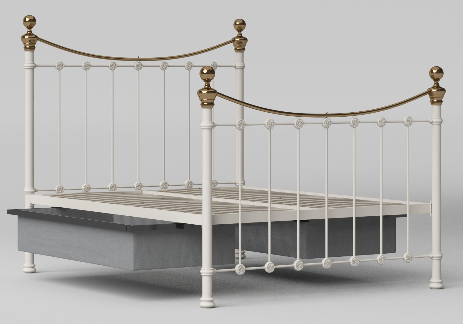 Selkirk Iron/Metal Bed in Glossy Ivory with Brass details shown with underbed storage
