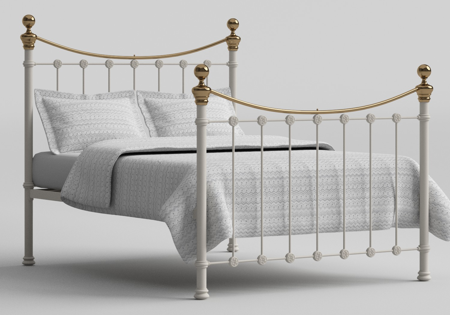 Selkirk Iron/Metal Bed in Glossy Ivory with Brass details shown with Juno 1 mattress