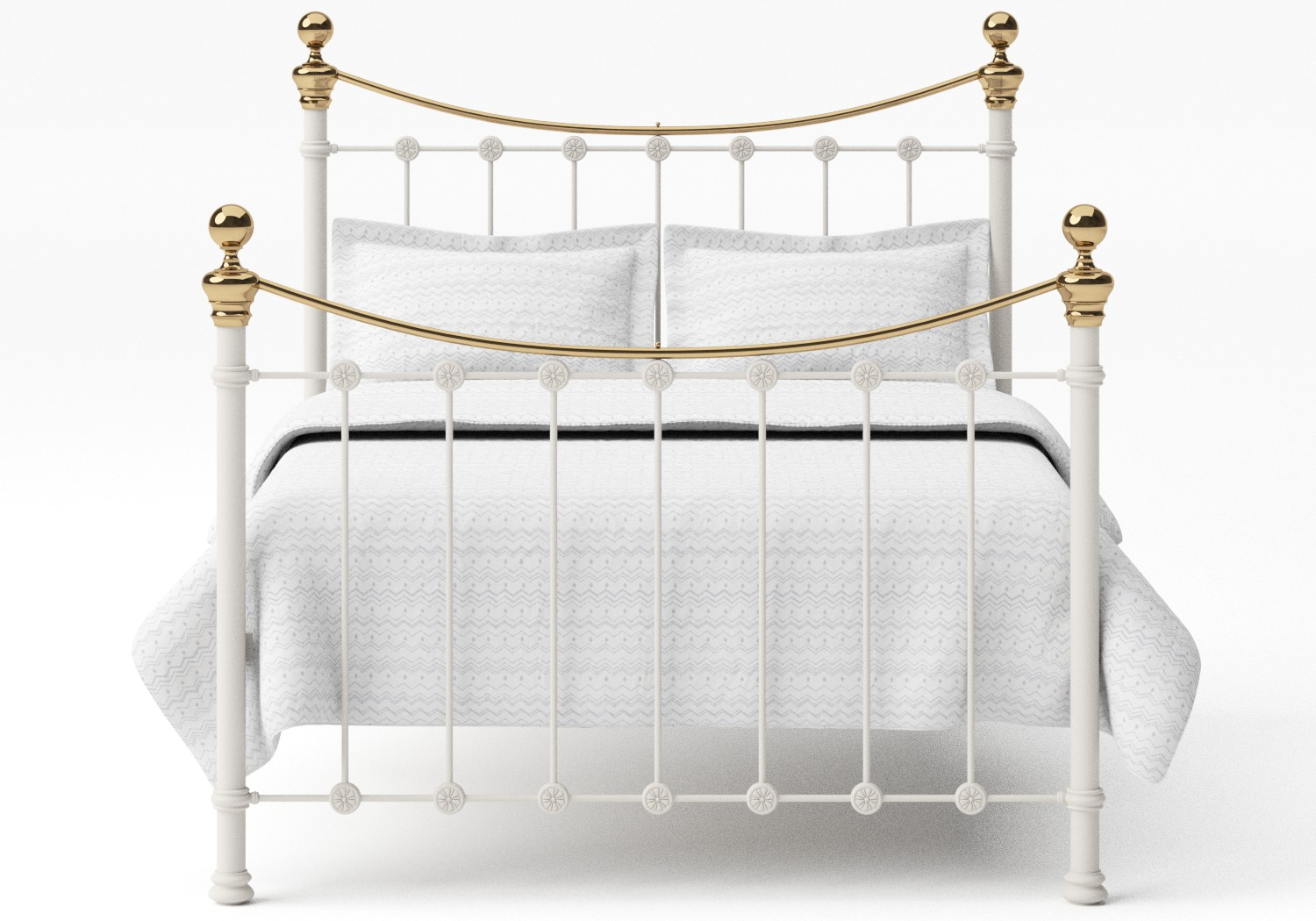Selkirk Iron/Metal Bed in Glossy Ivory with Brass details