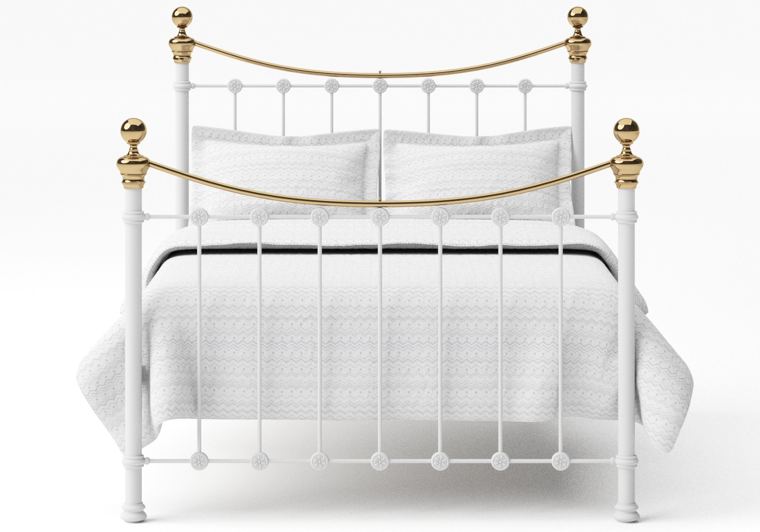 Selkirk Iron/Metal Bed in Satin White with Brass details