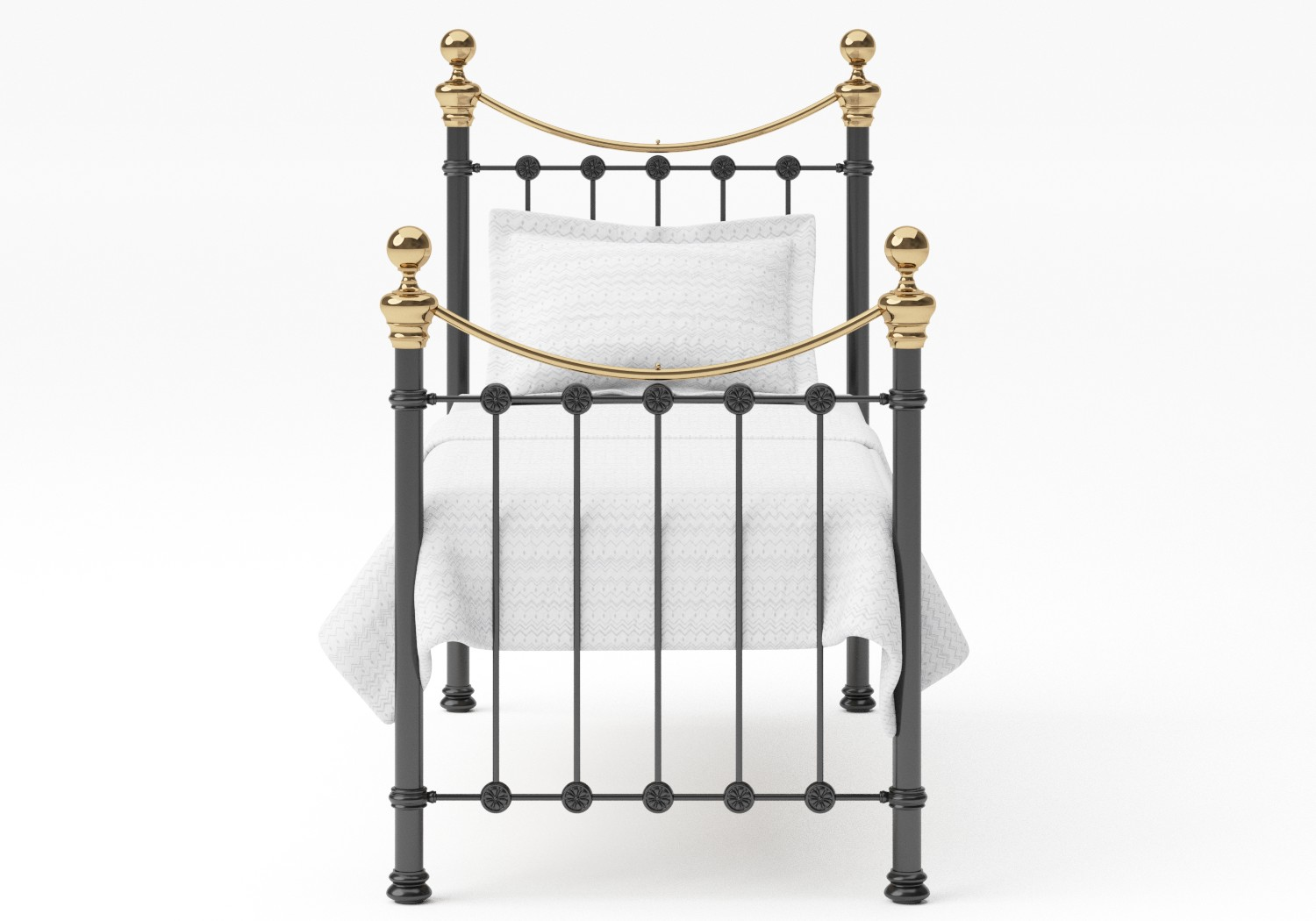 Selkirk Single Iron/Metal Bed in Satin Black with Brass details