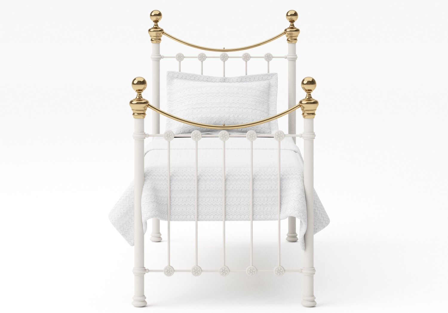 Selkirk Single Iron/Metal Bed in Glossy Ivory with Brass details shown with Juno 1 mattress