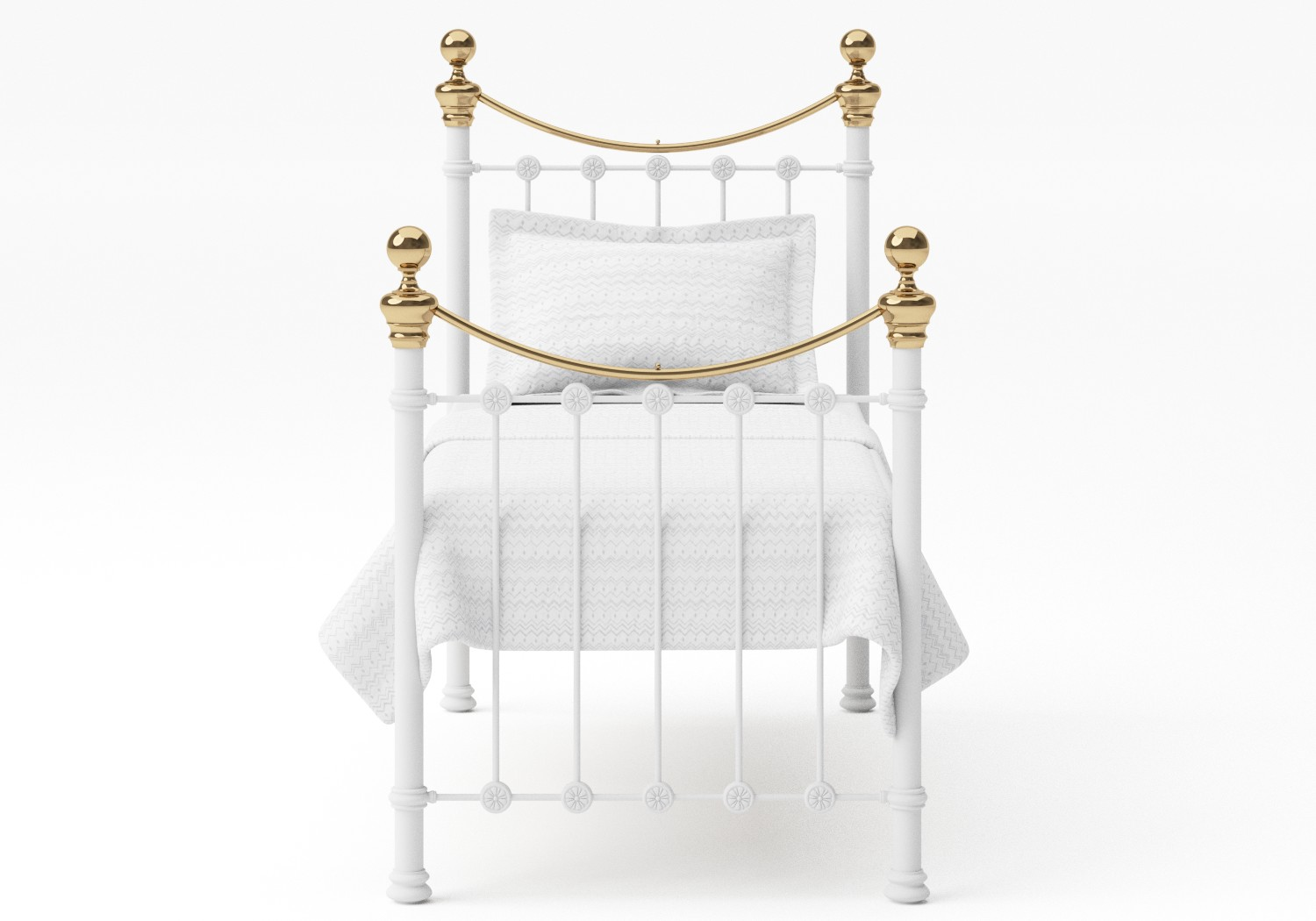 Selkirk Single Iron/Metal Bed in Satin White with Brass details