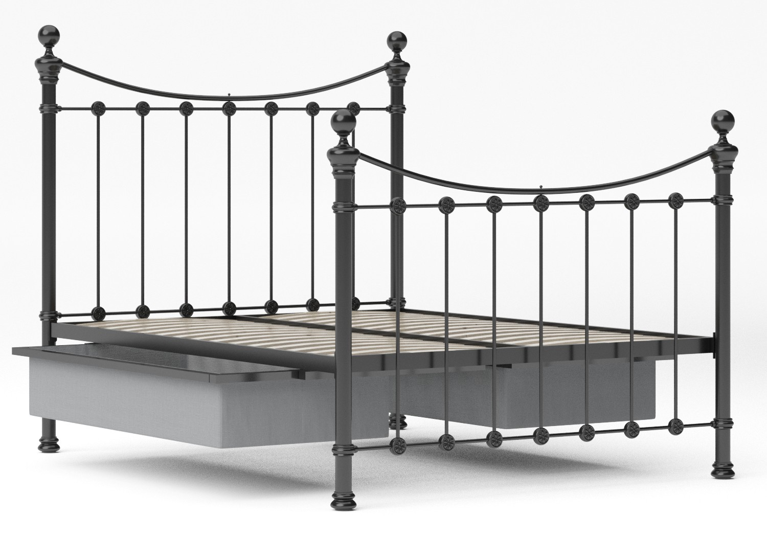Selkirk Iron/Metal Bed in Satin Black with Black painted details shown with underbed storage