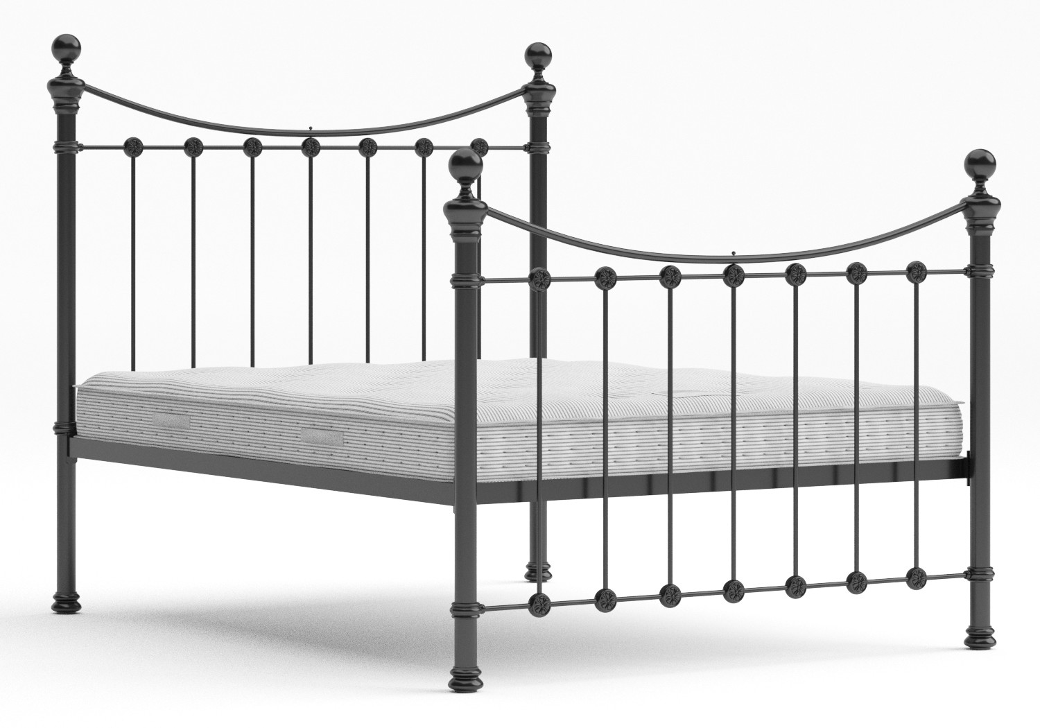 Selkirk Iron/Metal Bed in Satin Black with Black painted details shown with Juno 1 mattress