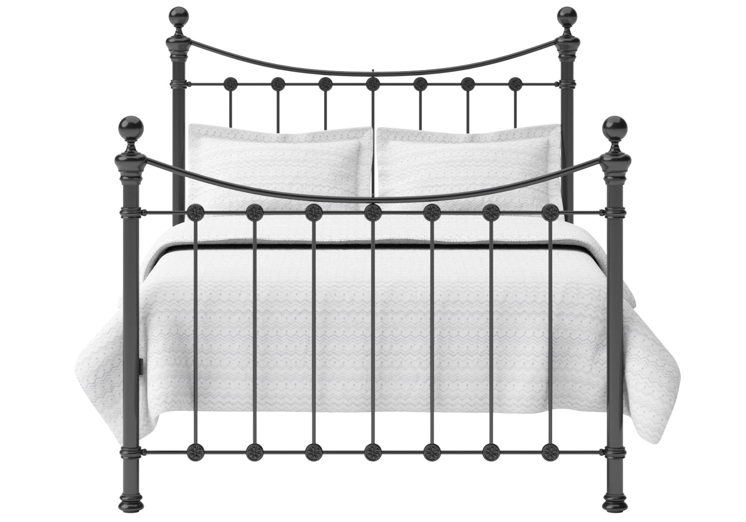 Selkirk Iron/Metal Bed in Satin Black with Black painted details