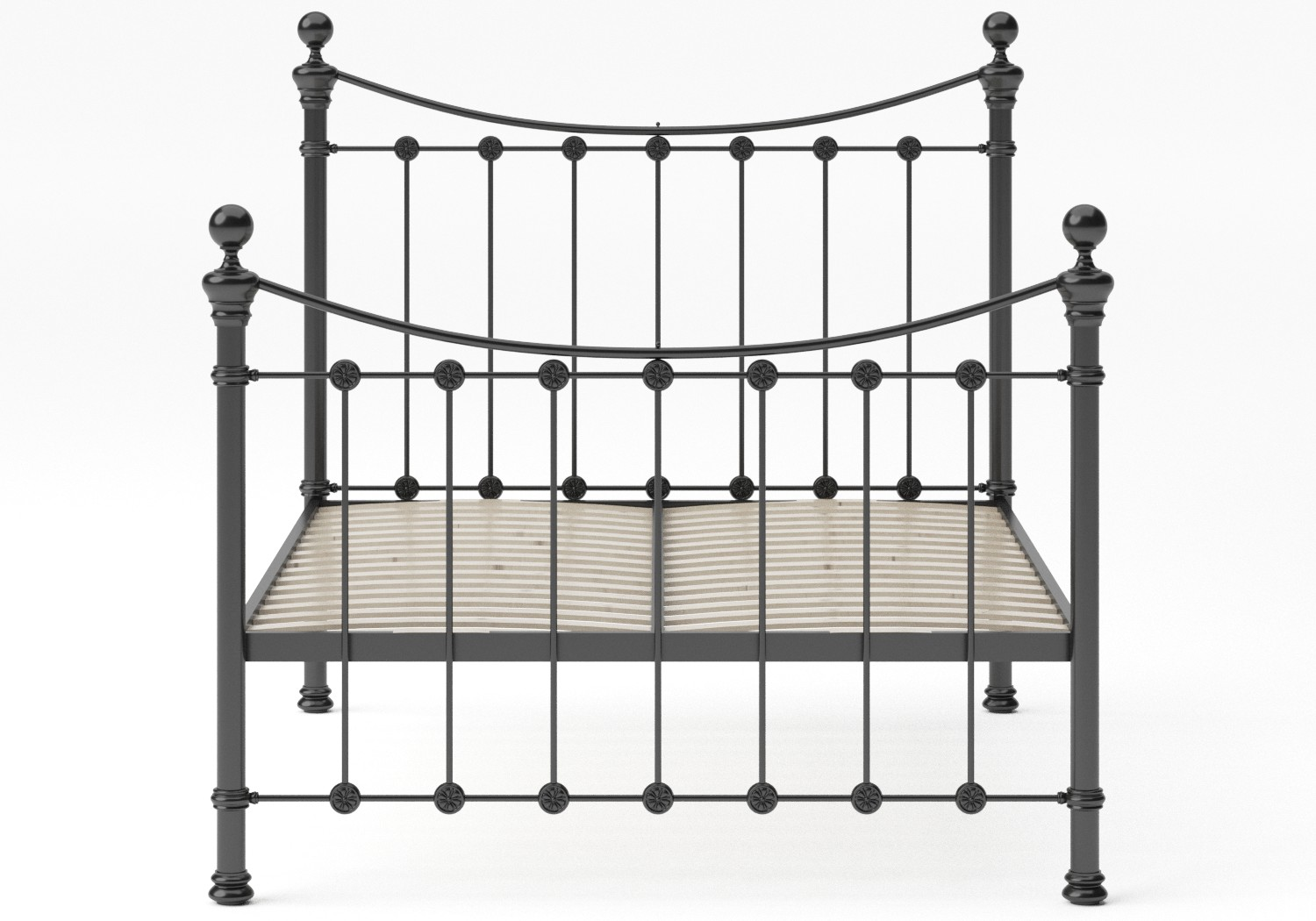 Selkirk Iron/Metal Bed in Satin Black with Black painted details shown with slatted frame
