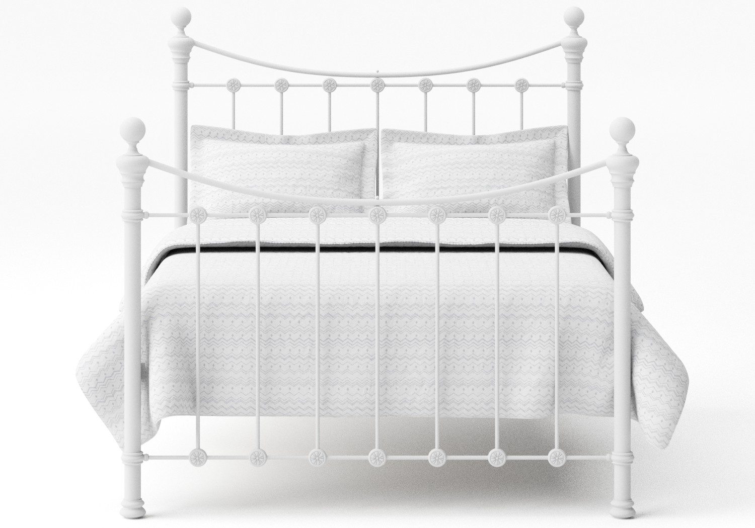 Selkirk Iron/Metal Bed in Satin White with white painted details