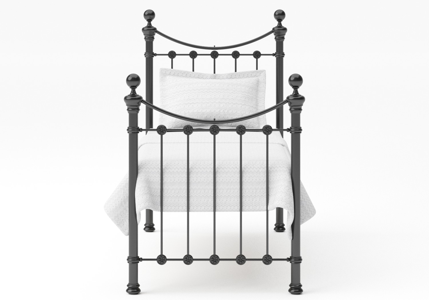 Selkirk Single Iron/Metal Bed in Satin Black with Black painted details