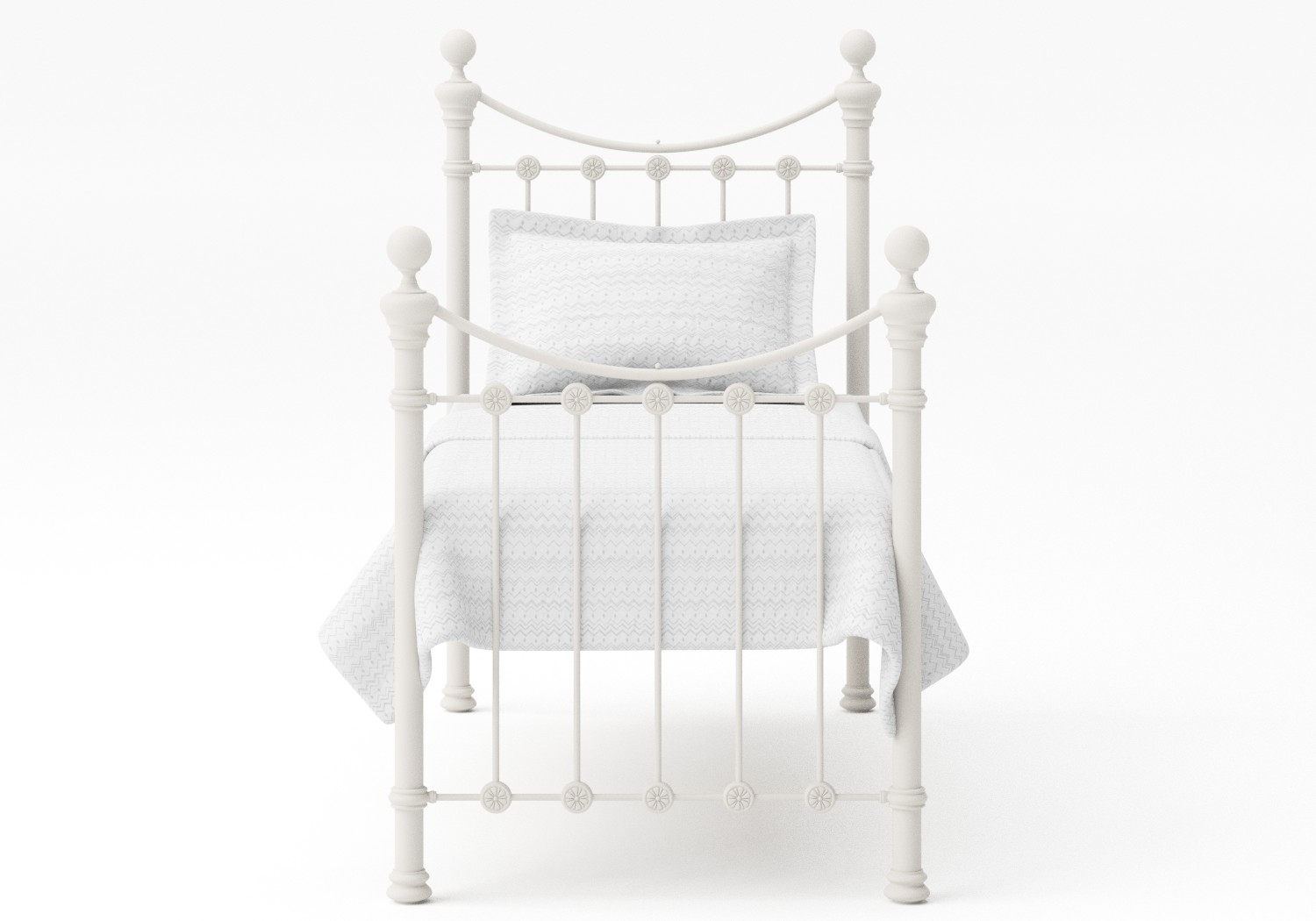 Selkirk Single Iron/Metal Bed in Glossy Ivory with ivory painted details