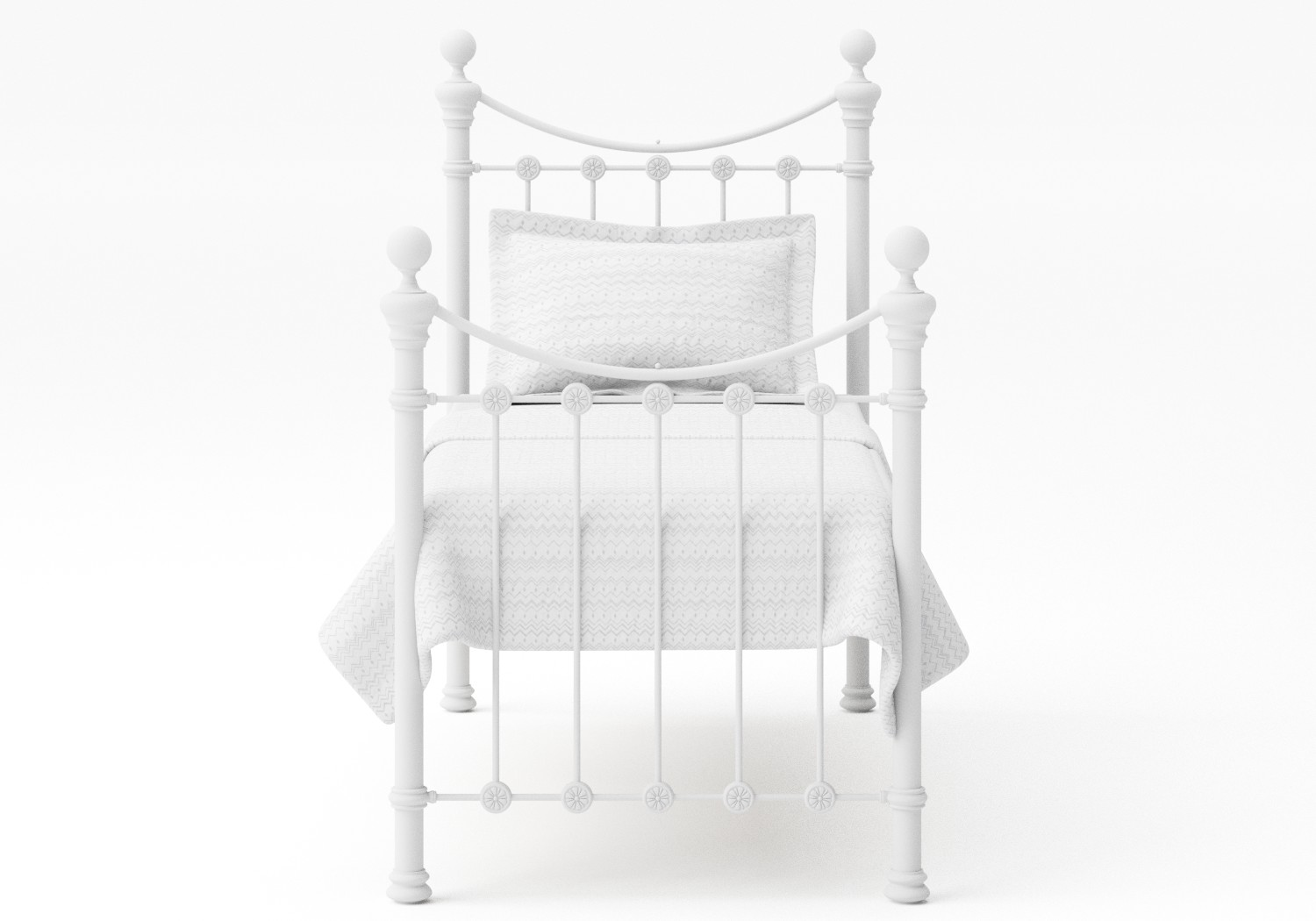 Selkirk Single Iron/Metal Bed in Satin White with white painted details