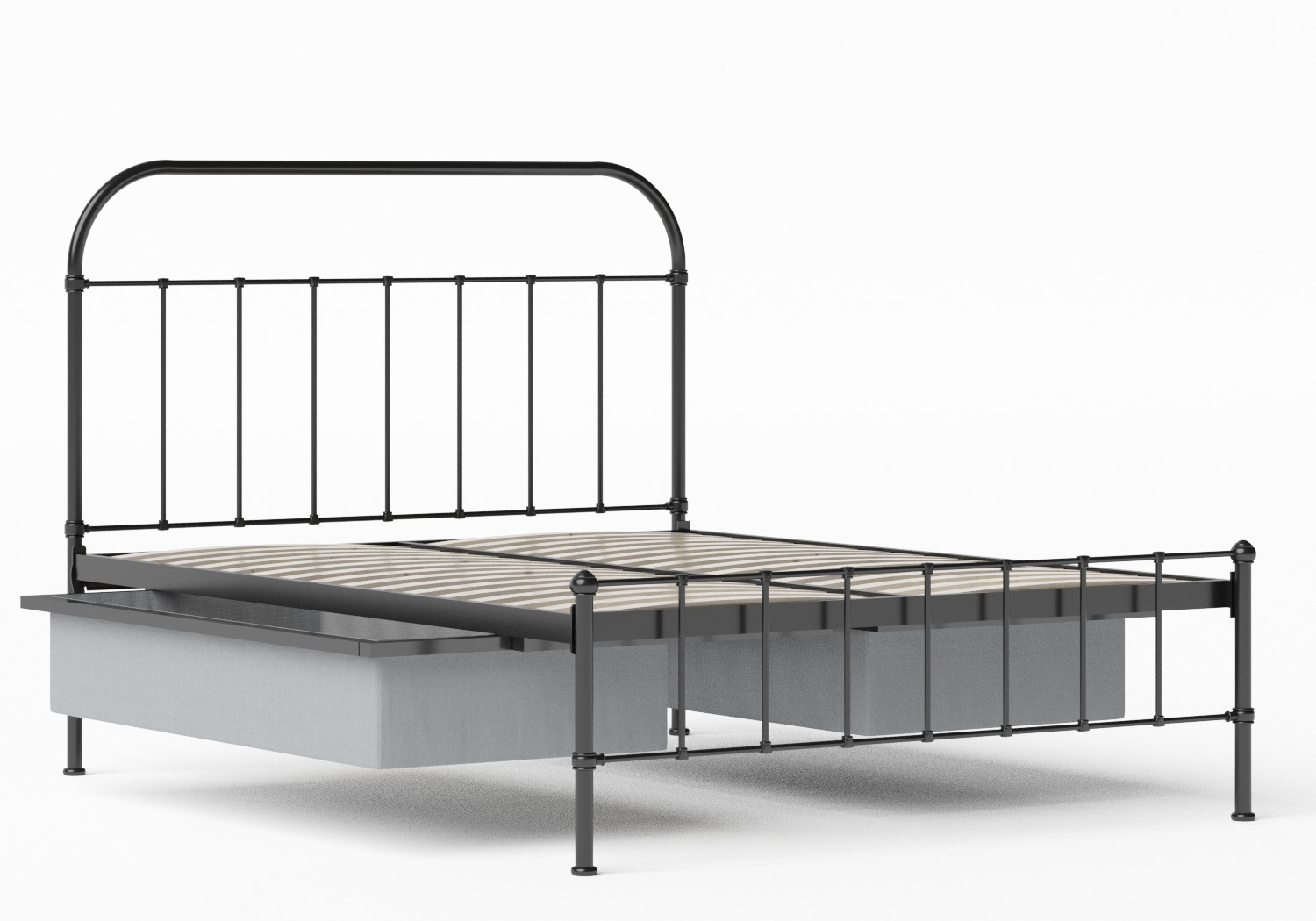 Solomon Iron/Metal Bed in Satin Black shown with underbed storage
