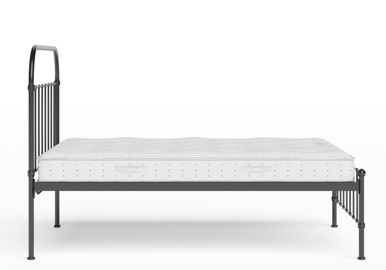 Solomon Iron/Metal Bed in Satin Black shown with Juno 1 mattress