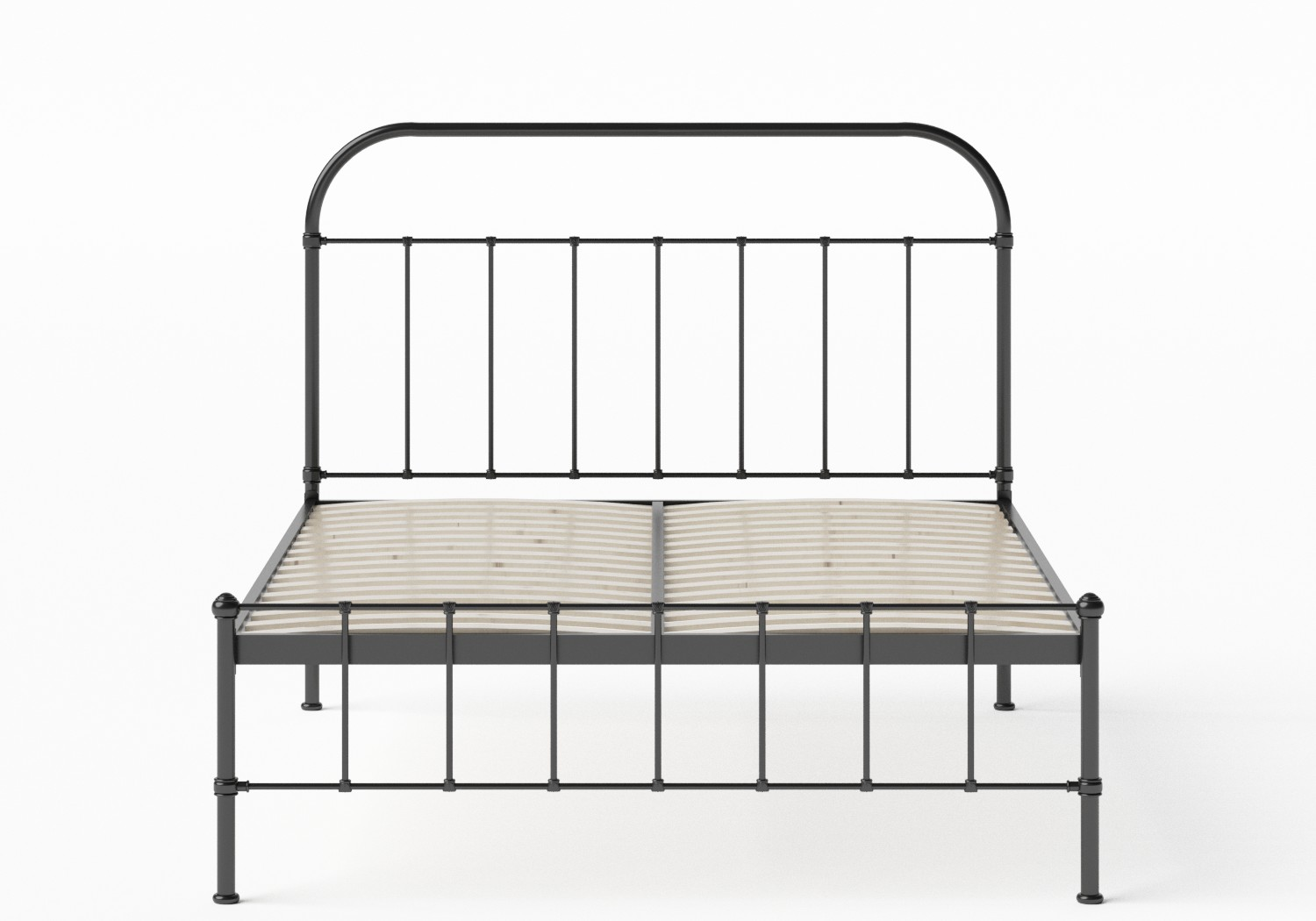 Solomon Iron/Metal Bed in Satin Black shown with slatted frame