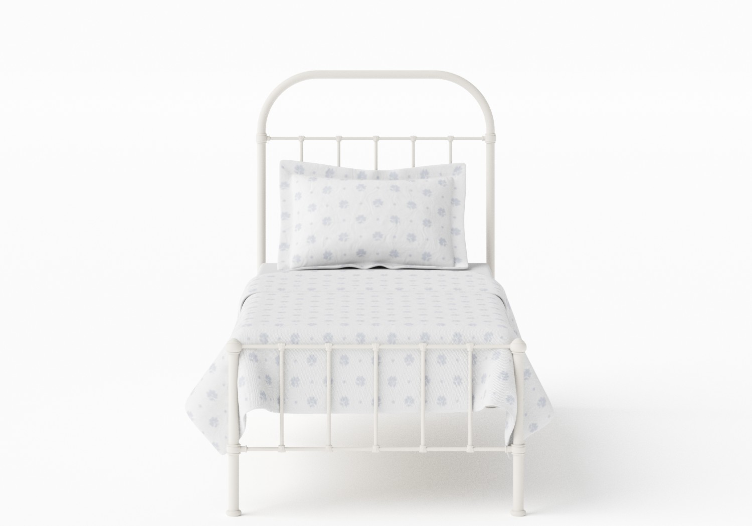 Solomon Single Iron/Metal Bed in Glossy Ivory