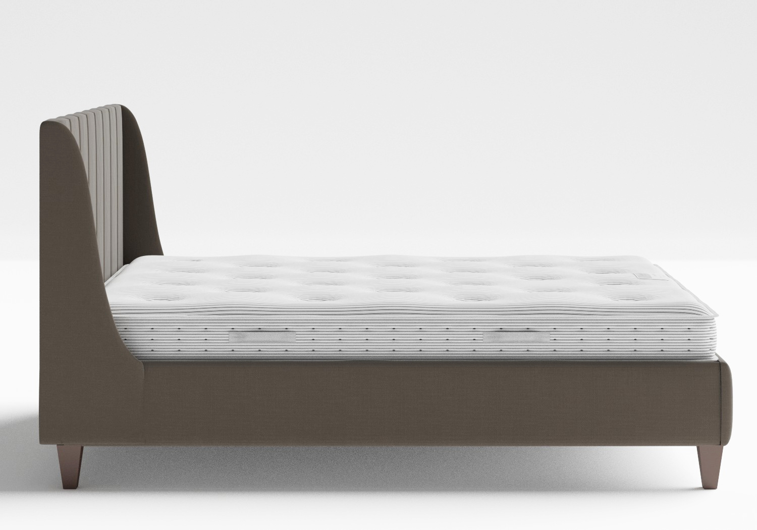Sunderland Upholstered bed in Grey fabric shown with Juno 1 mattress