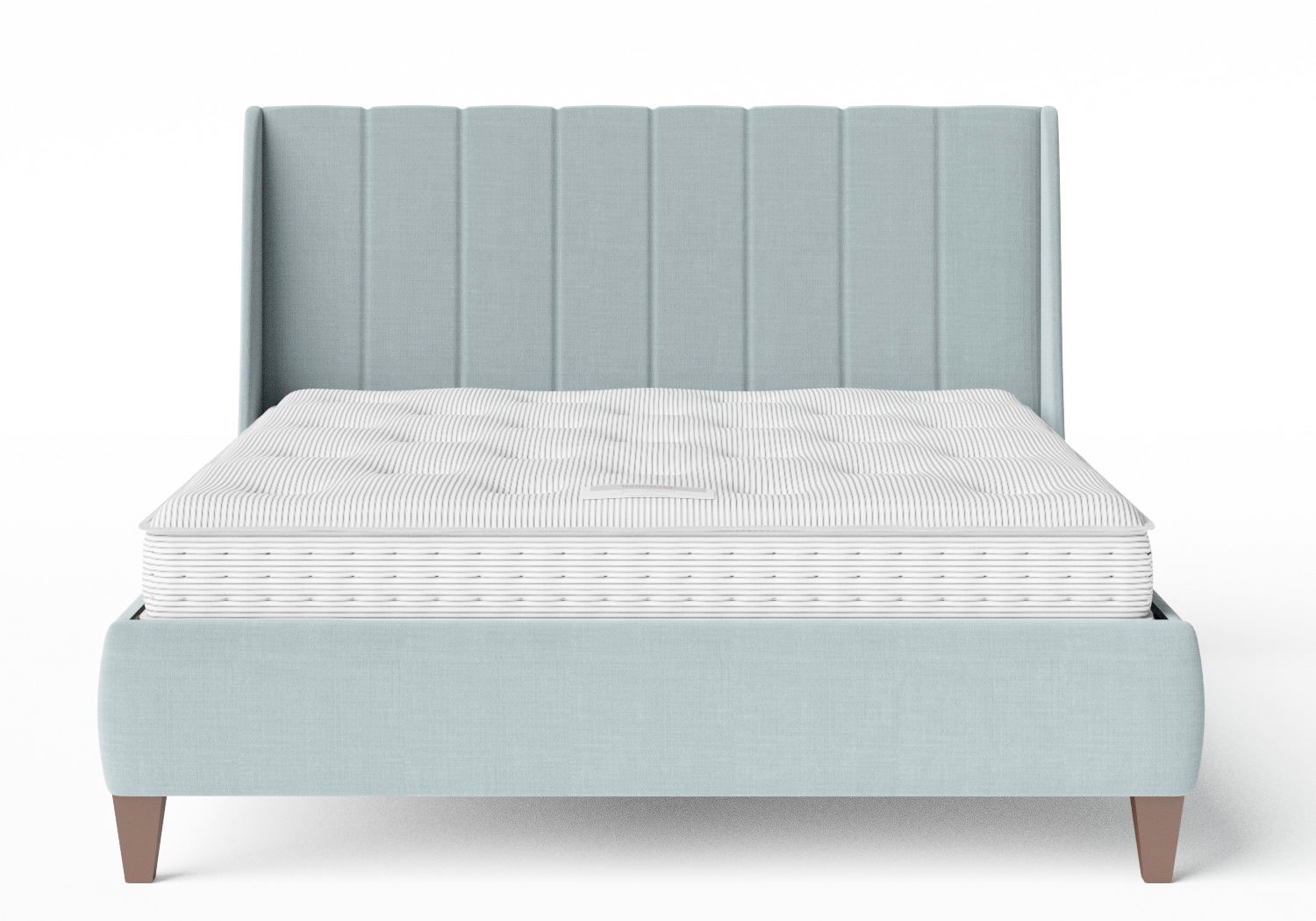 Sunderland Upholstered bed in Wedgewood fabric shown with Juno 1 mattress