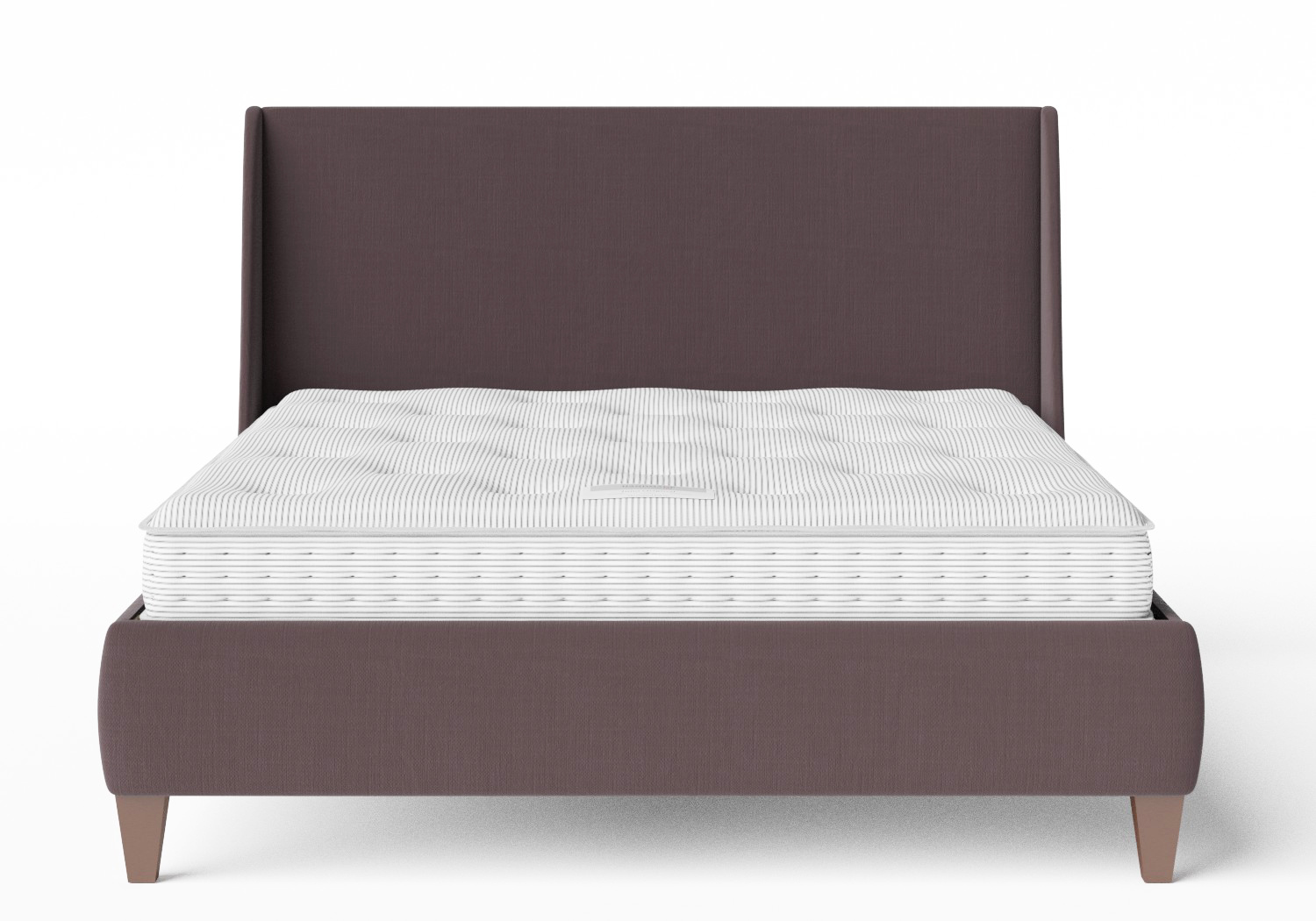 Sunderland Upholstered Bed in Aubergine fabric shown with Juno 1 mattress