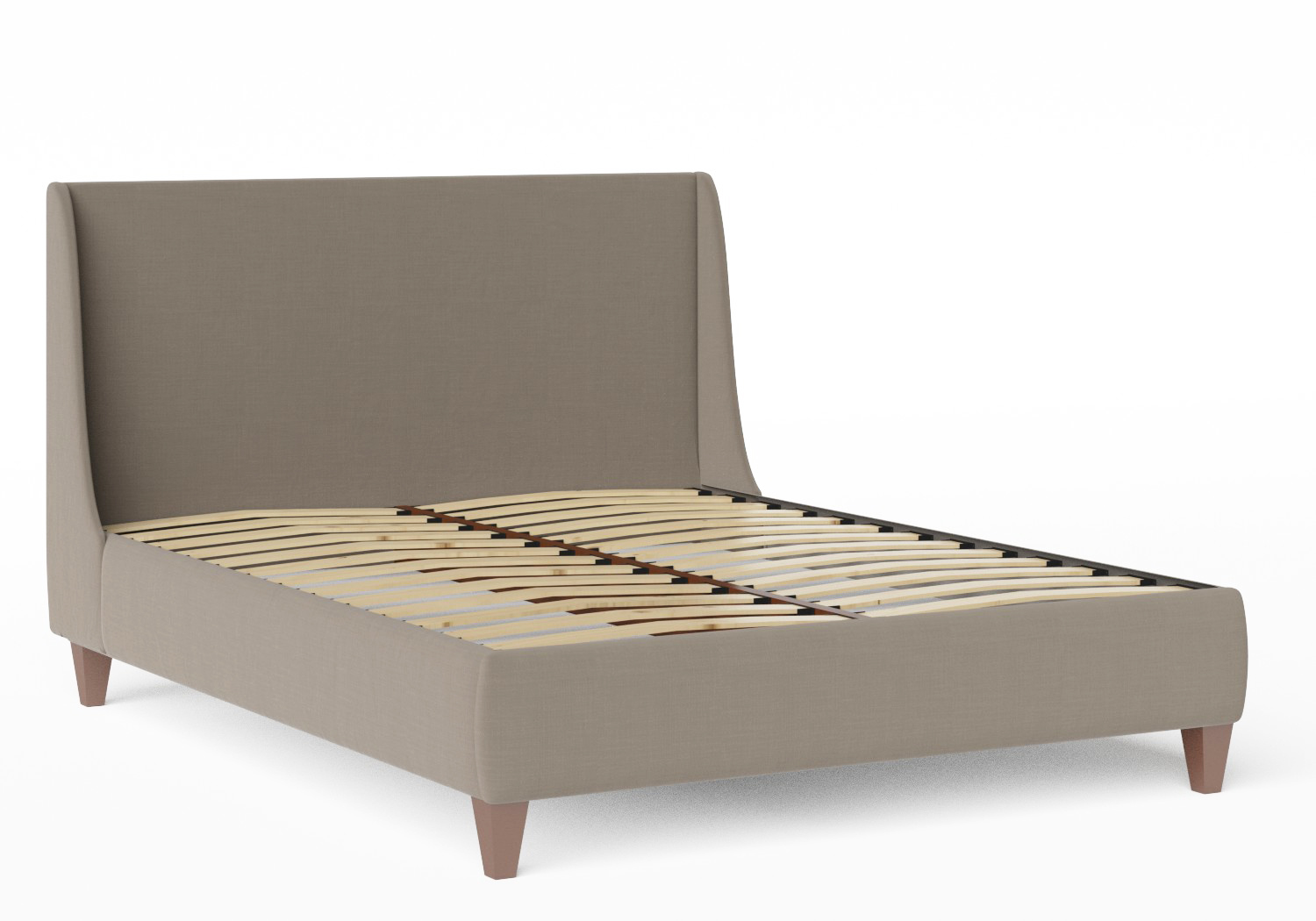 Sunderland Upholstered bed in Grey fabric  shown with slatted frame