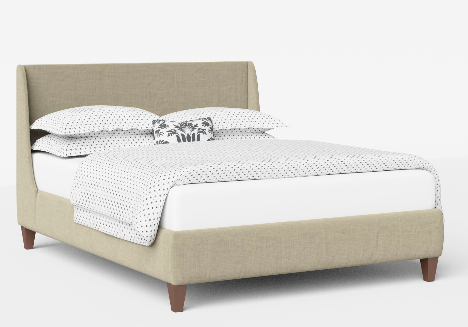 Sunderland Upholstered Bed in Natural fabric shown with Juno 1 mattress