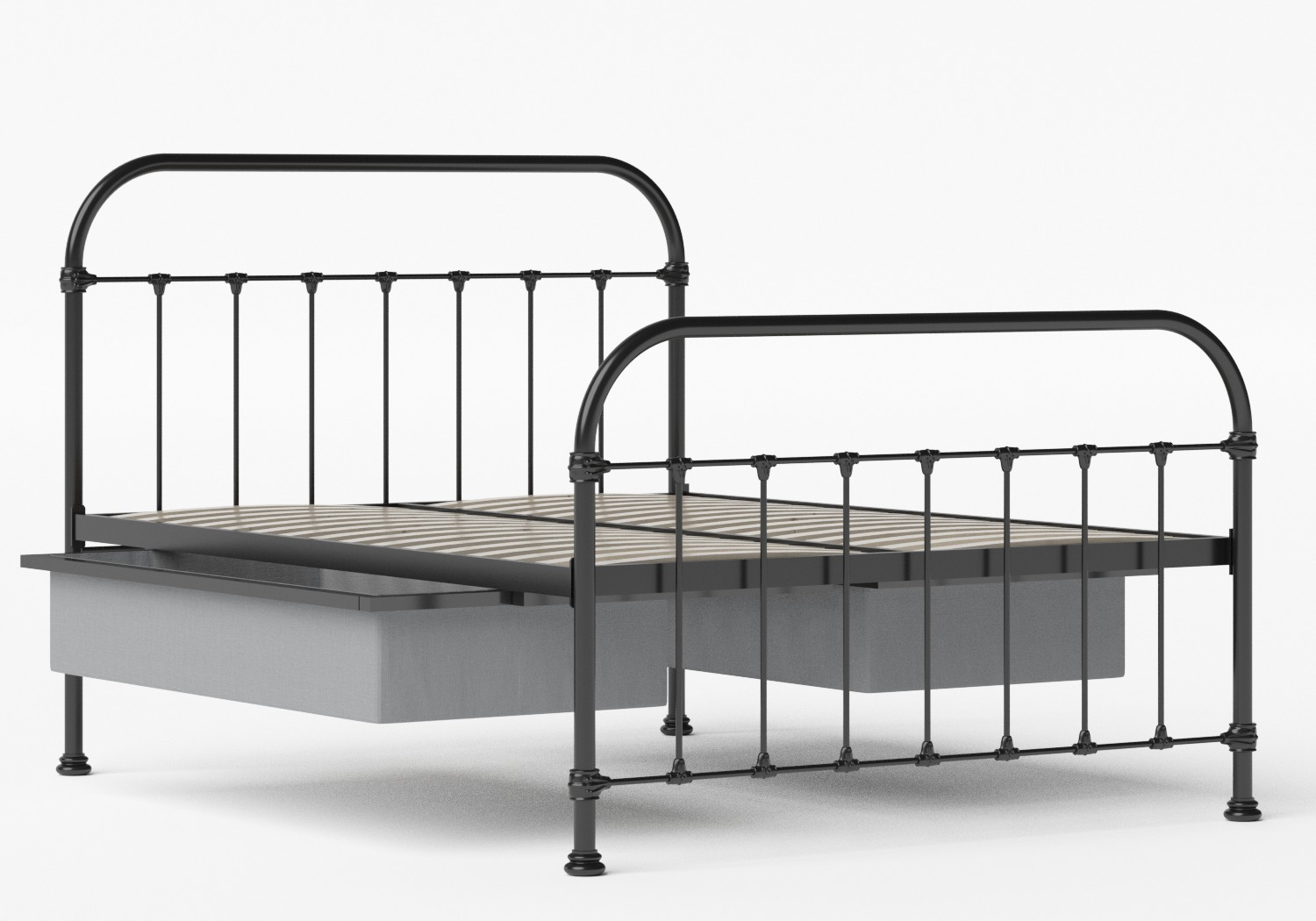 Timolin Iron/Metal Bed in Satin Black shown with underbed storage