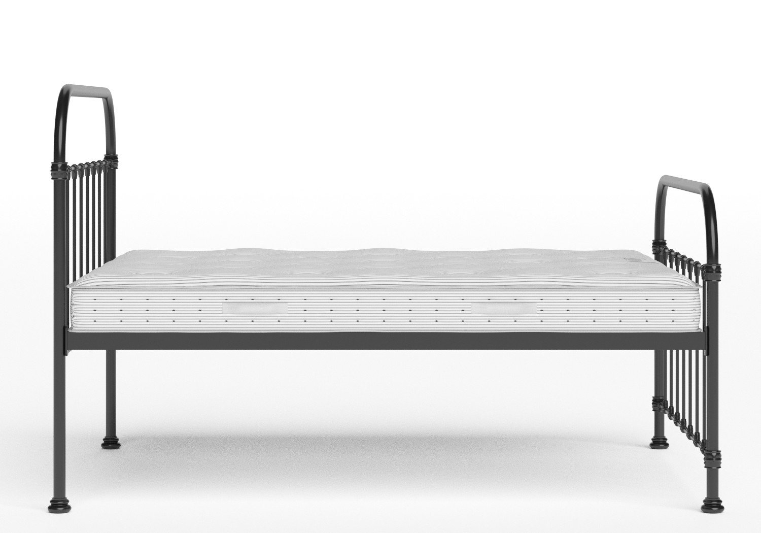 Timolin Iron/Metal Bed in Satin Black shown with Juno 1 mattress