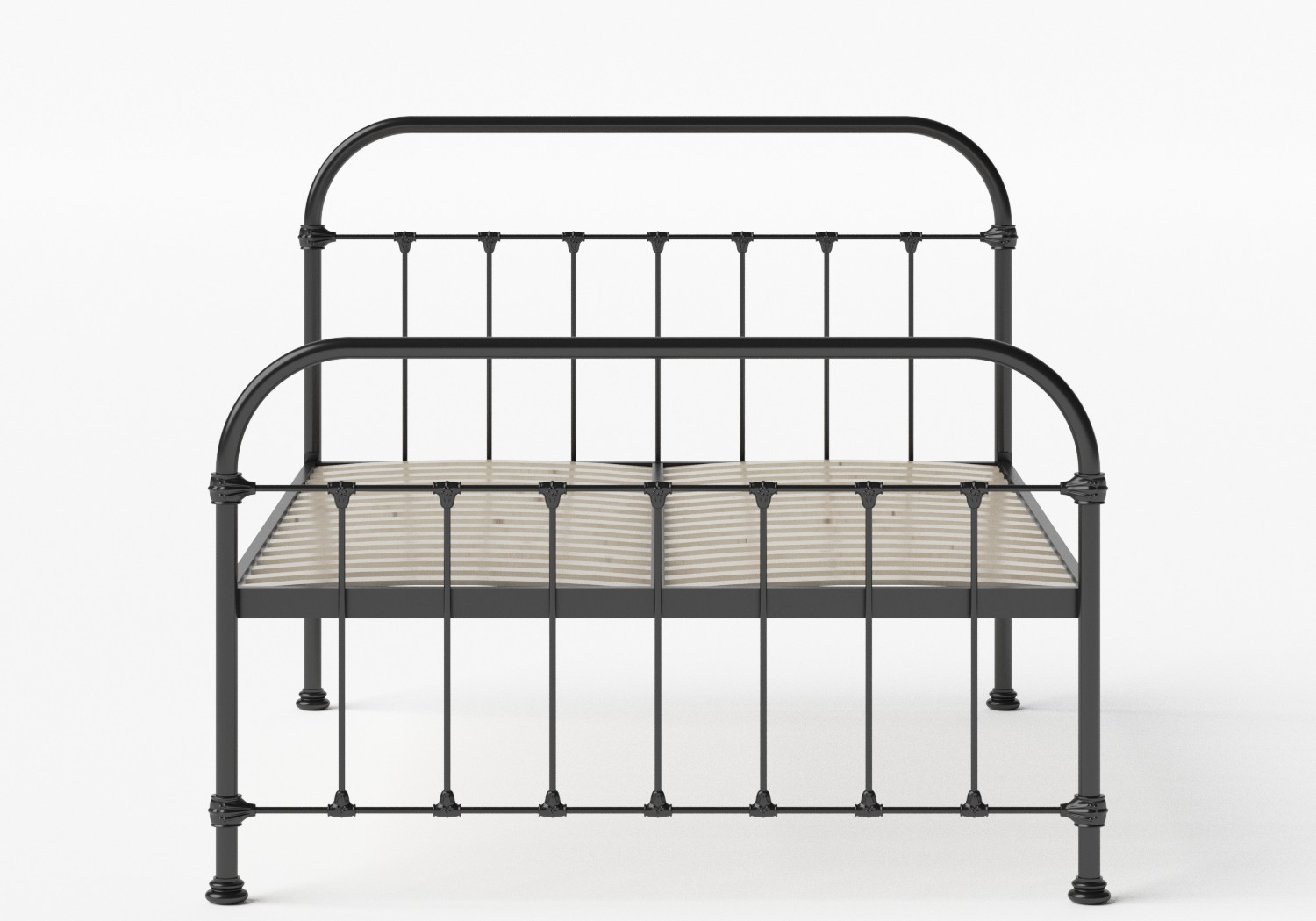 Timolin Iron/Metal Bed in Satin Black shown with slatted frame