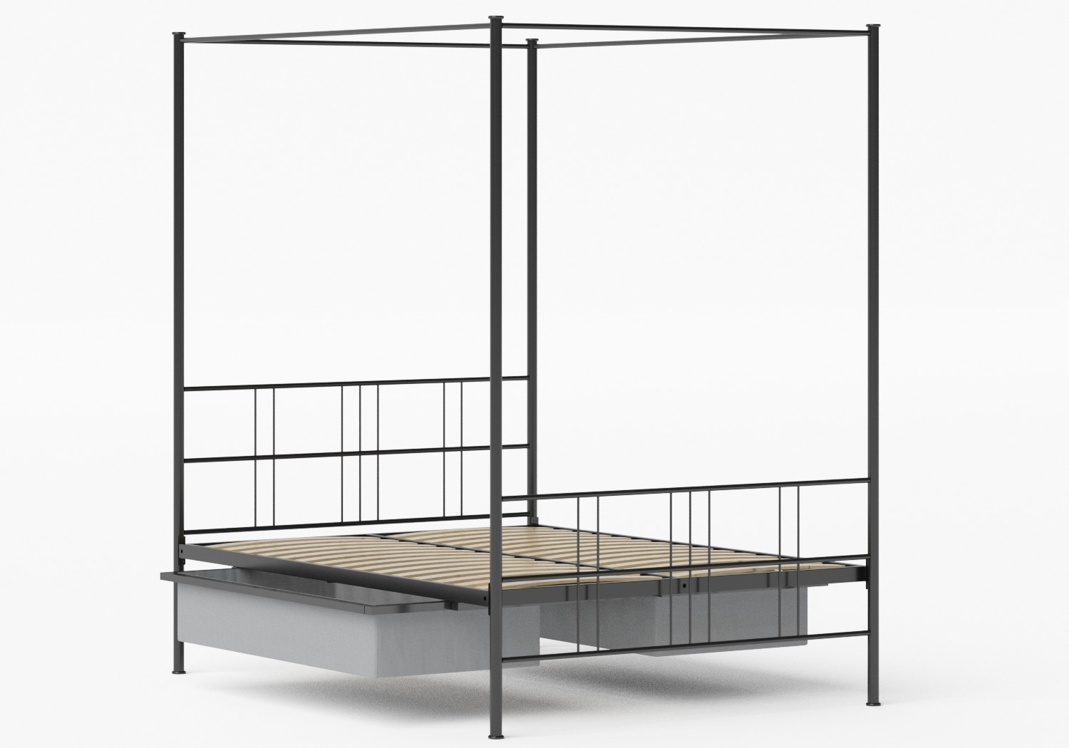 Toulon Iron/Metal Bed in Satin Black shown with underbed storage