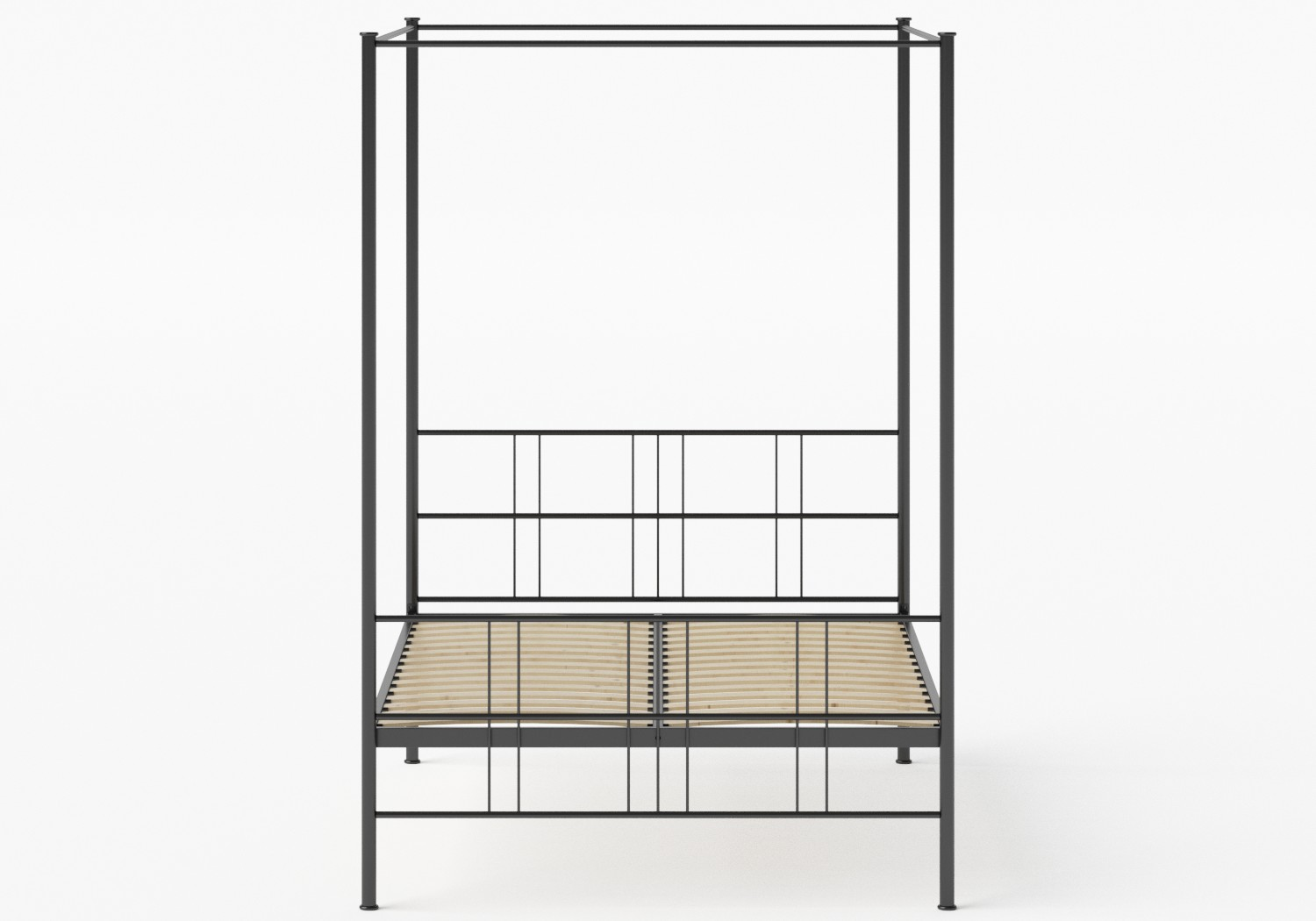 Toulon Iron/Metal Bed in Satin Black shown with slatted frame