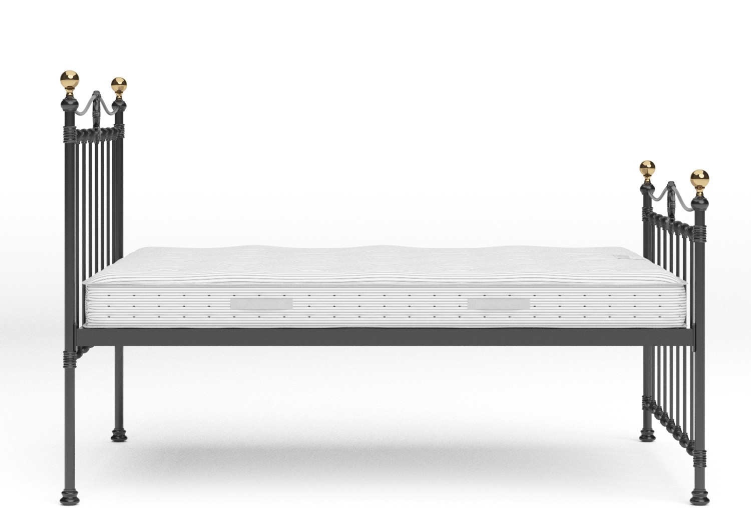 Tulsk Iron/Metal Bed in Satin Black with Brass details shown with Juno 1 mattress