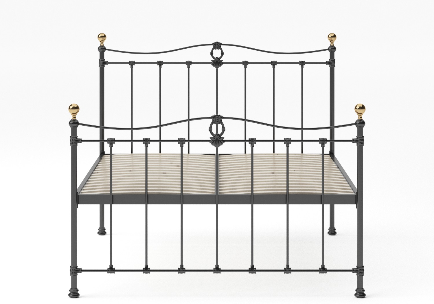 Tulsk Iron/Metal Bed in Satin Black with Brass details shown with slatted base