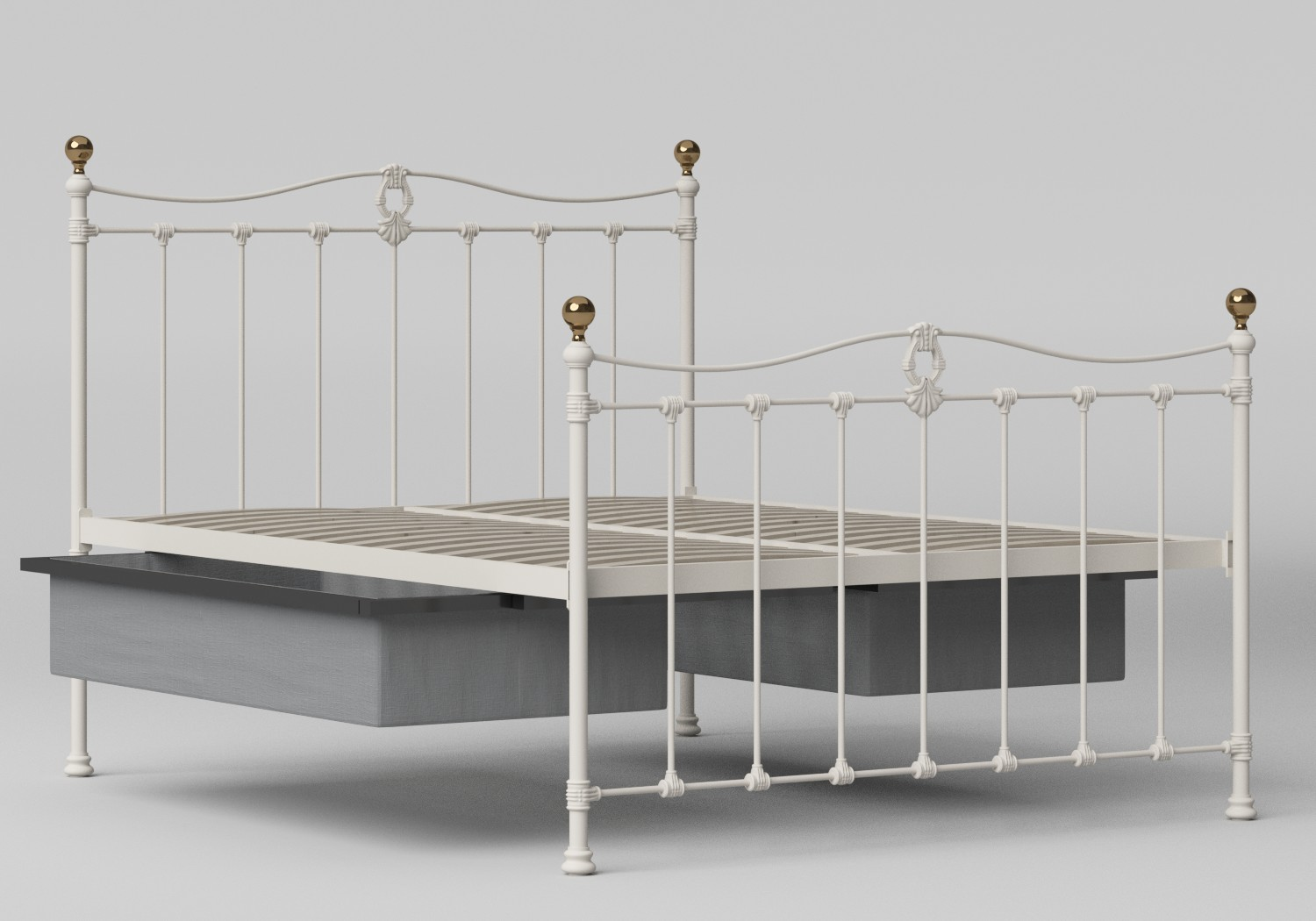 Tulsk Iron/Metal Bed in Glossy Ivory with Brass details shown with underbed storage