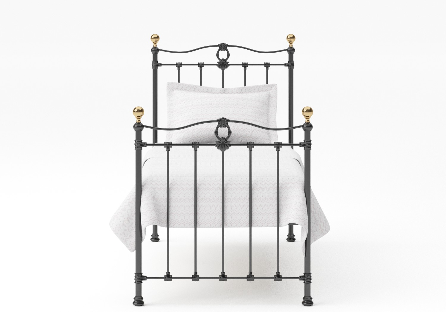 Tulsk Single Iron/Metal Bed in Satin Black with Brass details