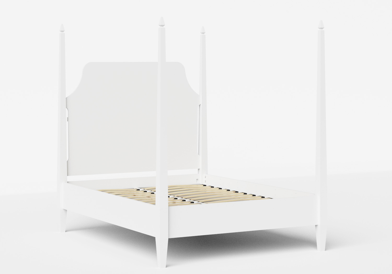 Turner Wood Bed in White shown with slatted base