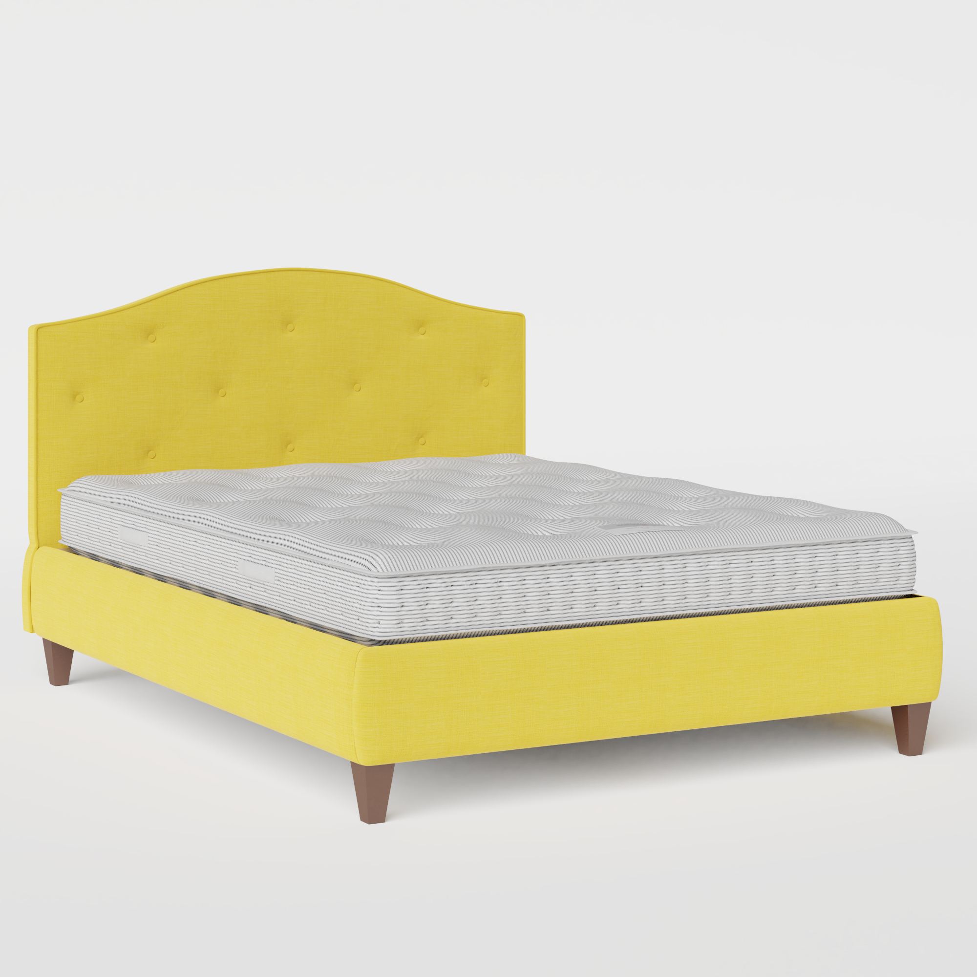 Daniella Buttoned Diagonal upholstered bed in sunflower fabric