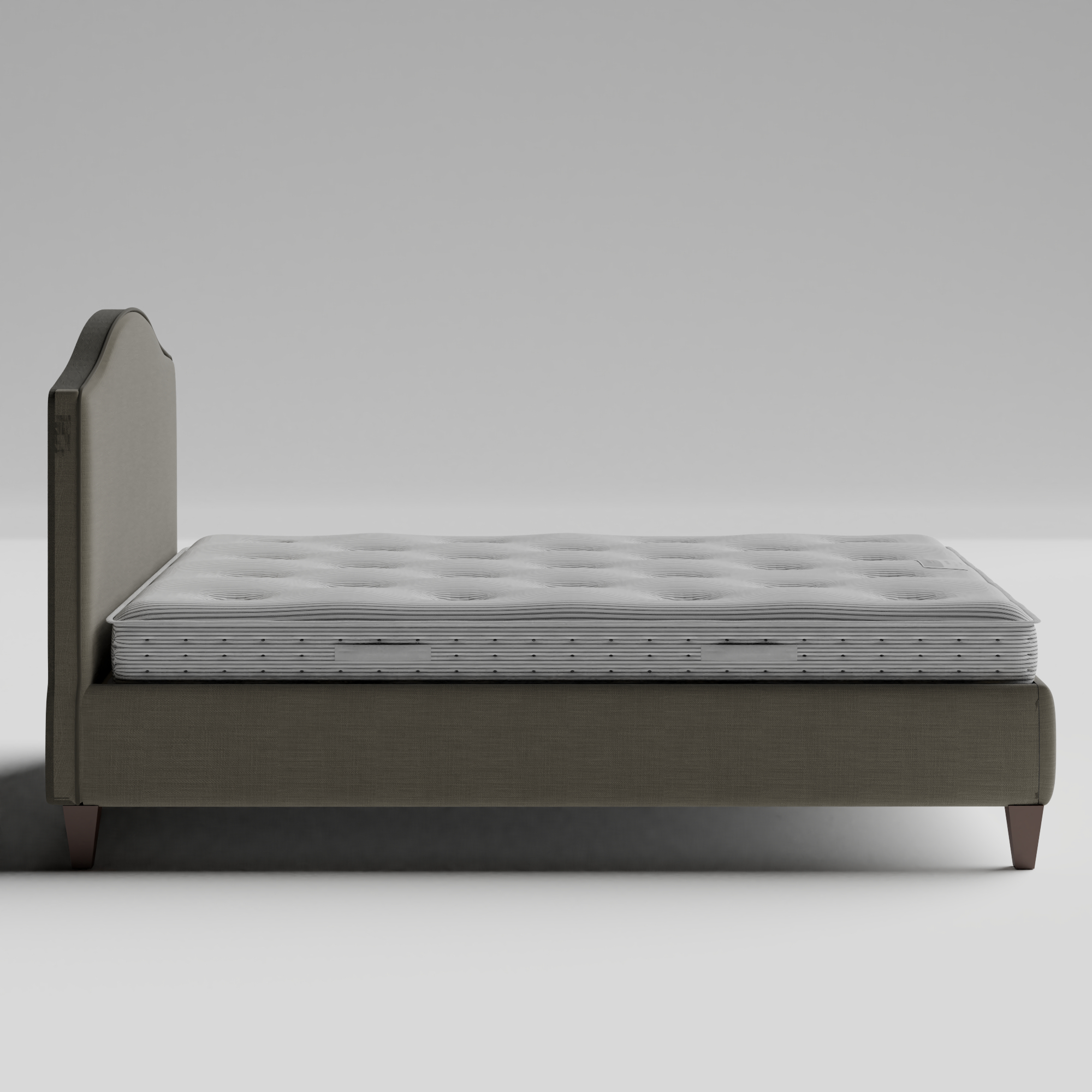 Daniella with Piping upholstered bed in grey fabric with Juno mattress