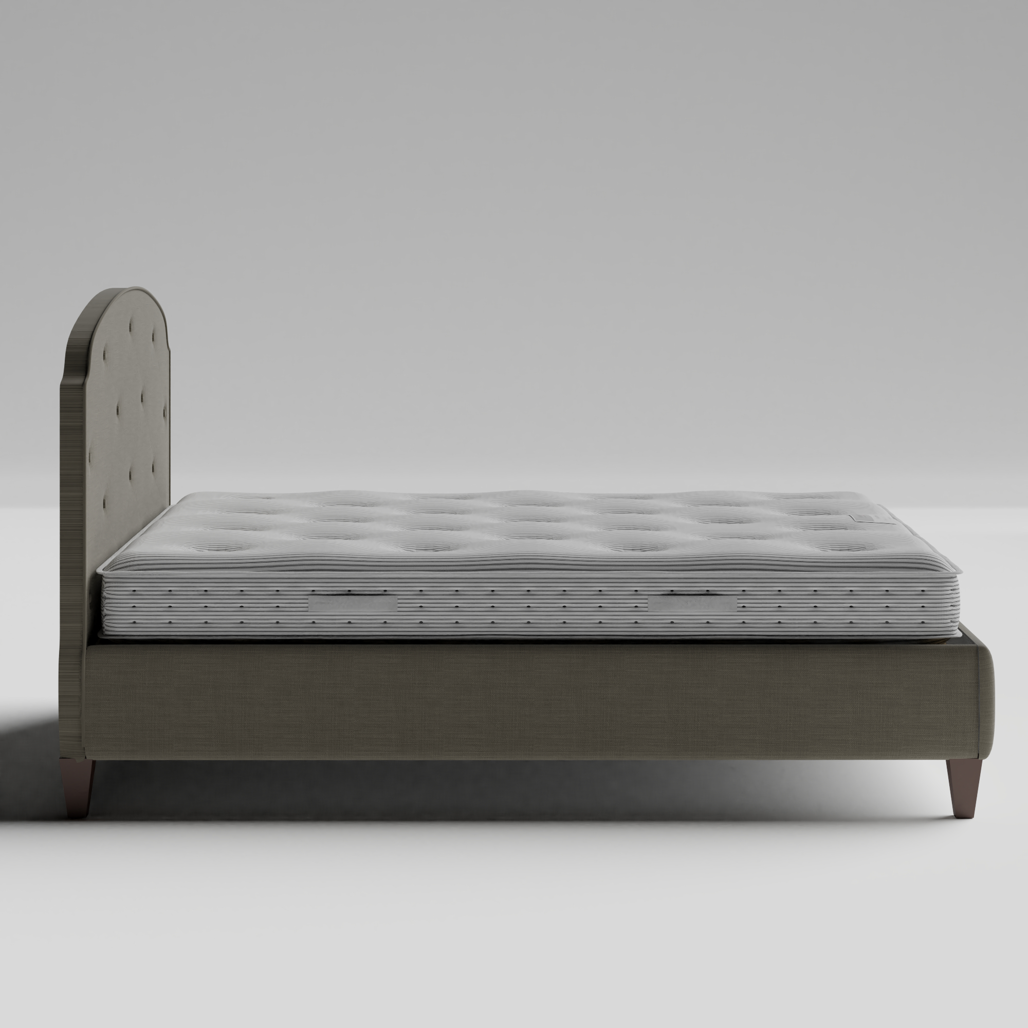 Lide Buttoned Diagonal upholstered bed in grey fabric with Juno mattress