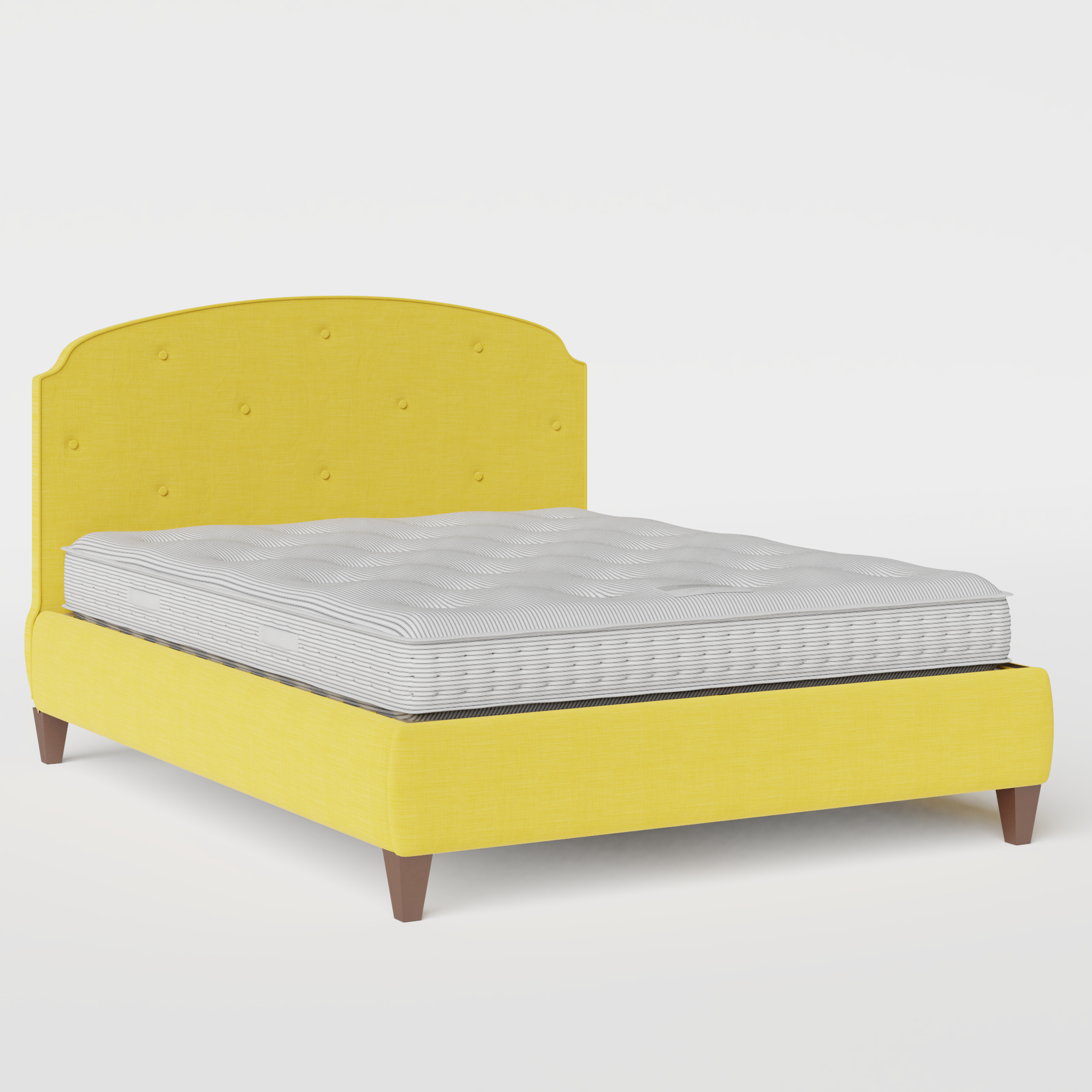 Lide Buttoned Diagonal upholstered bed in sunflower fabric